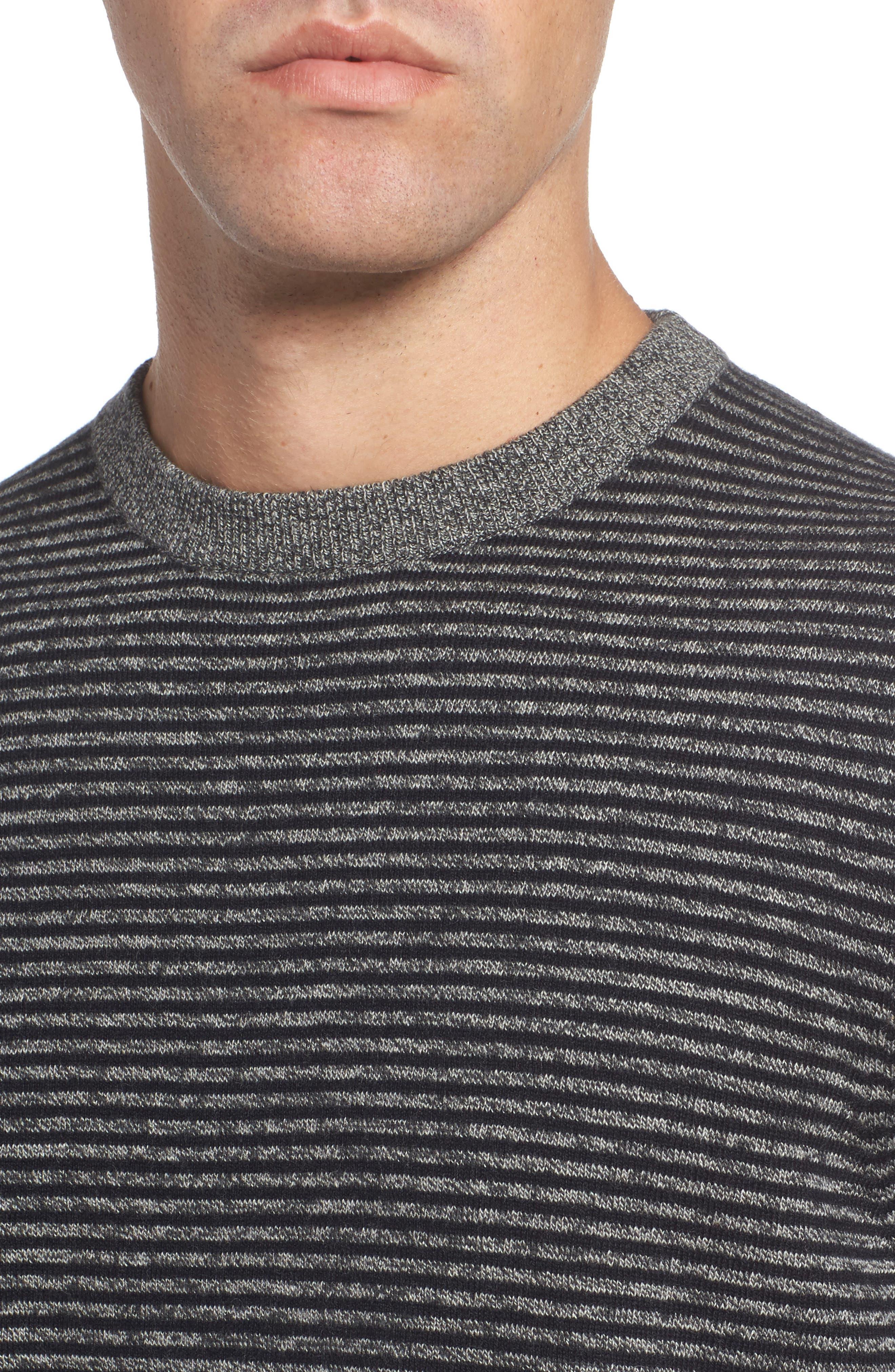 Stripe Cotton & Cashmere Crewneck Sweater,                             Alternate thumbnail 4, color,                             001