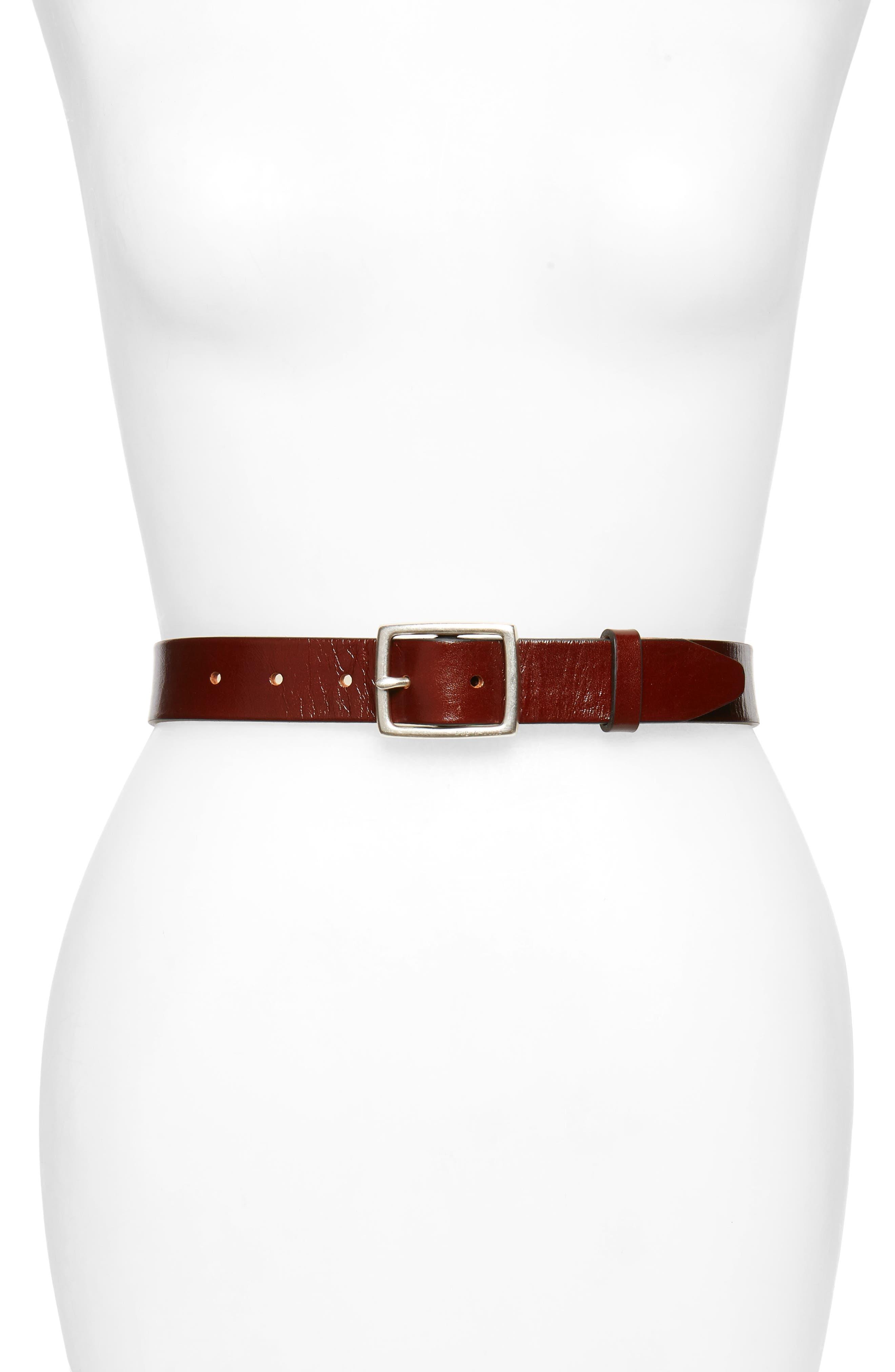 'Boyfriend' Leather Belt,                         Main,                         color, DARK BROWN