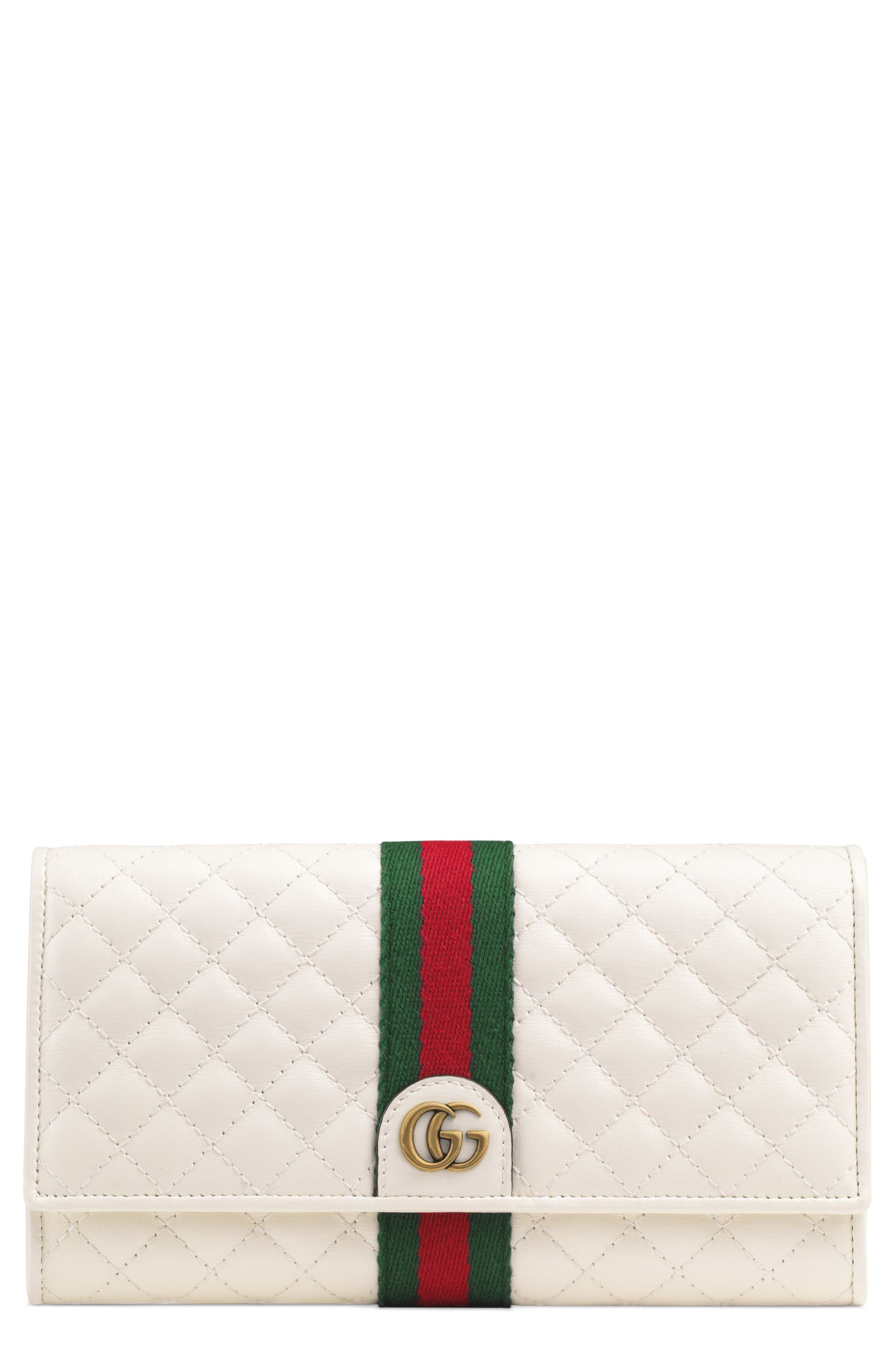 Quilted Leather Continental Wallet,                         Main,                         color, OFF WHITE/ VERT/ RED