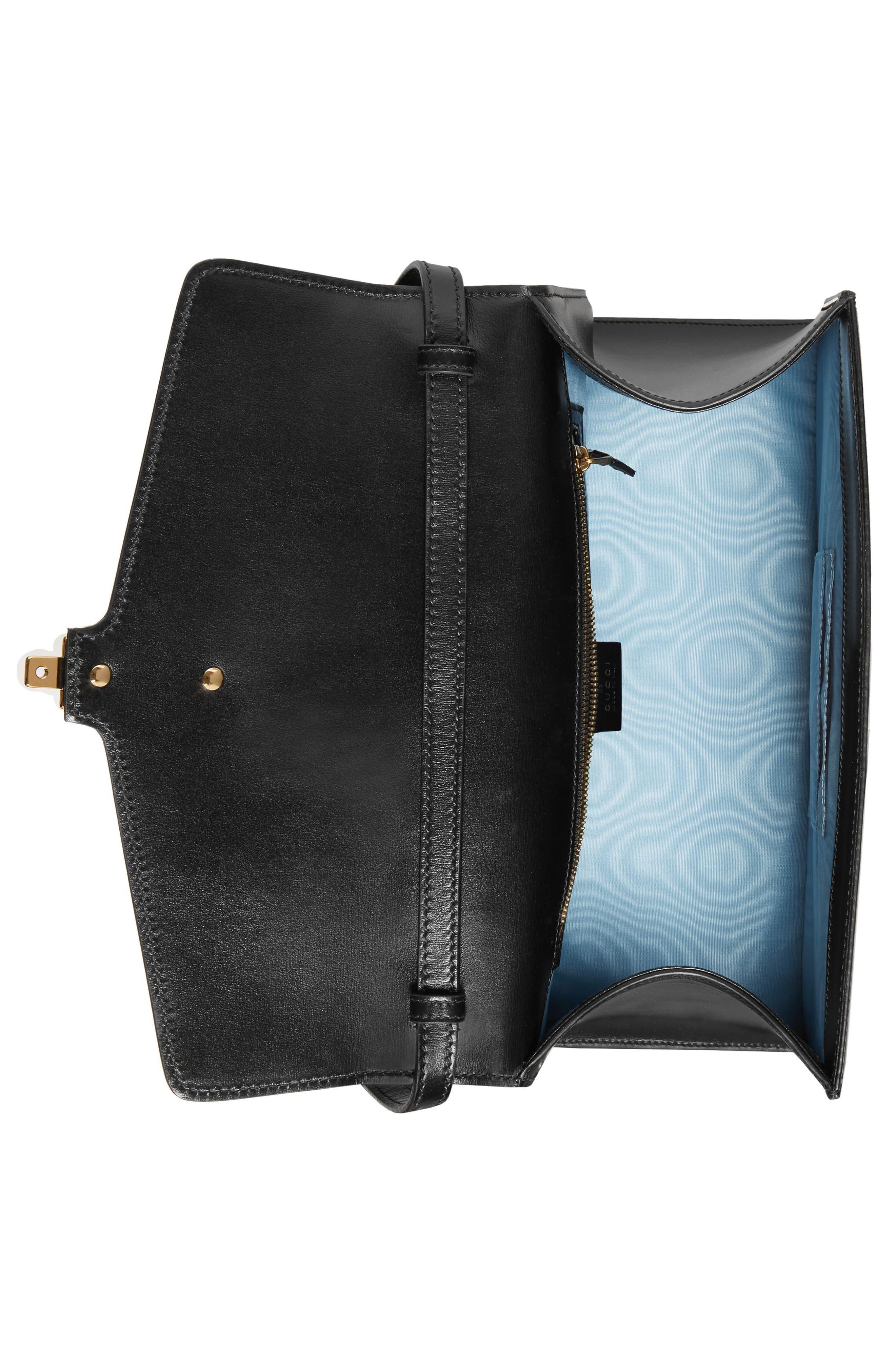 Medium Sylvie Top Handle Leather Bag,                             Alternate thumbnail 3, color,                             BLACK GOLD/ CARAMEL/ OCHRE