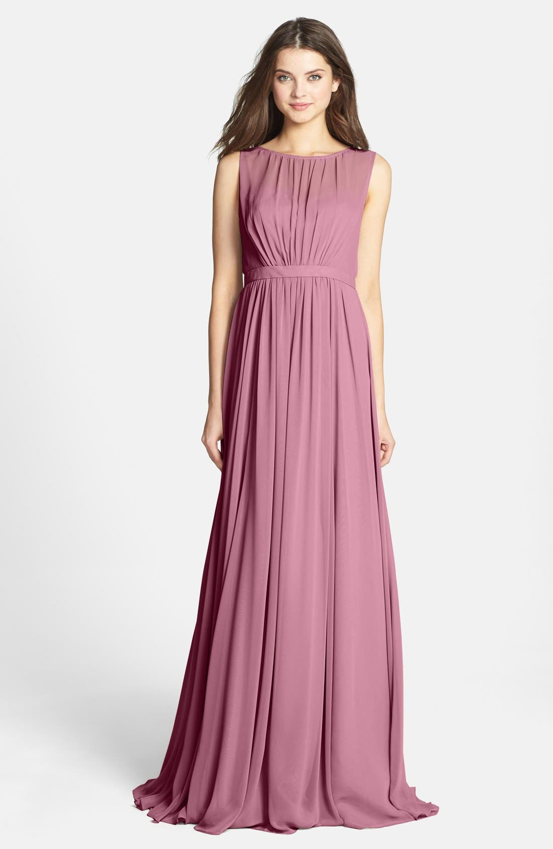 Vivienne Pleated Chiffon Gown,                             Main thumbnail 13, color,