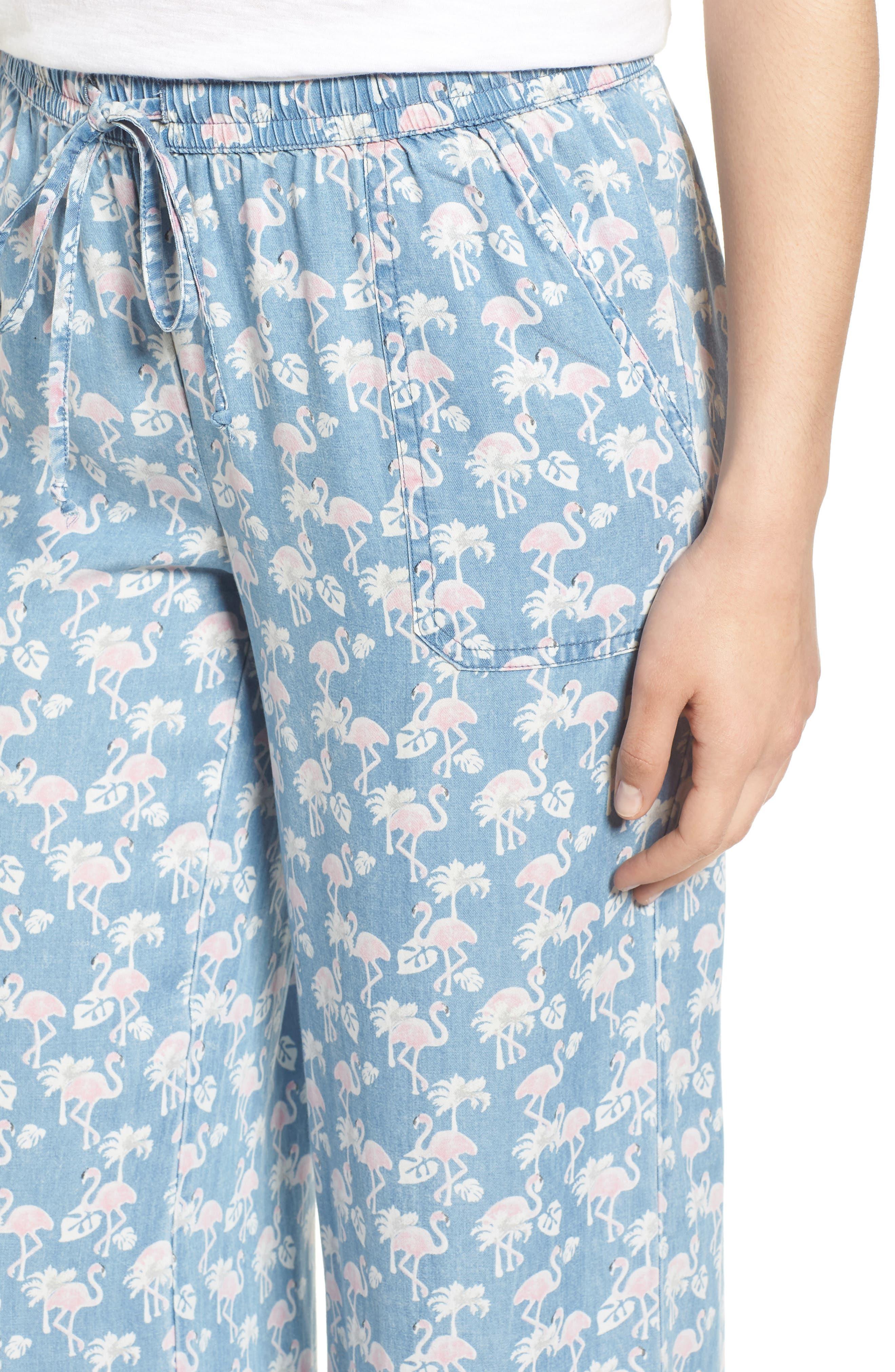 Pink Flamingo Drawstring Pants,                             Alternate thumbnail 4, color,                             BLUE FLAMINGO