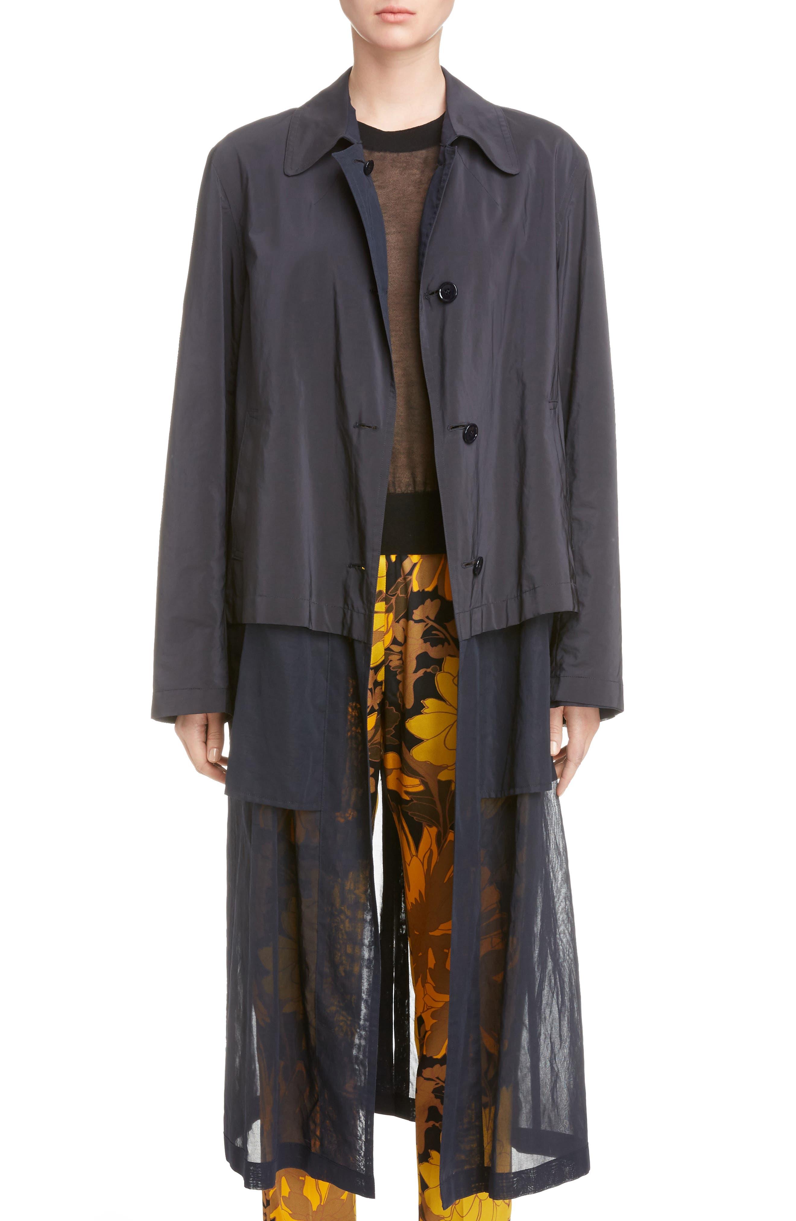 Reversible Sheer Hem Trench Coat,                         Main,                         color, 410