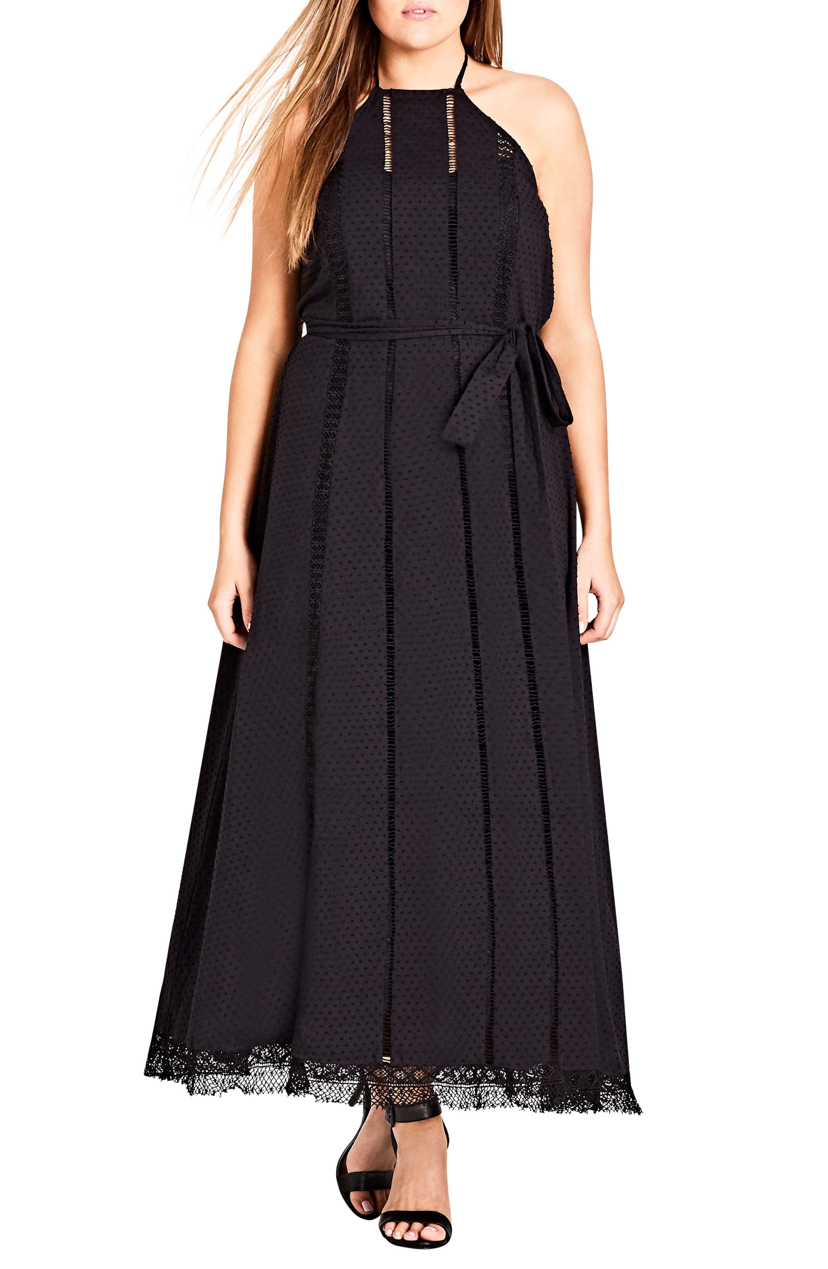Lace Trim Swiss Dot Halter Maxi Dress,                             Main thumbnail 1, color,                             BLACK