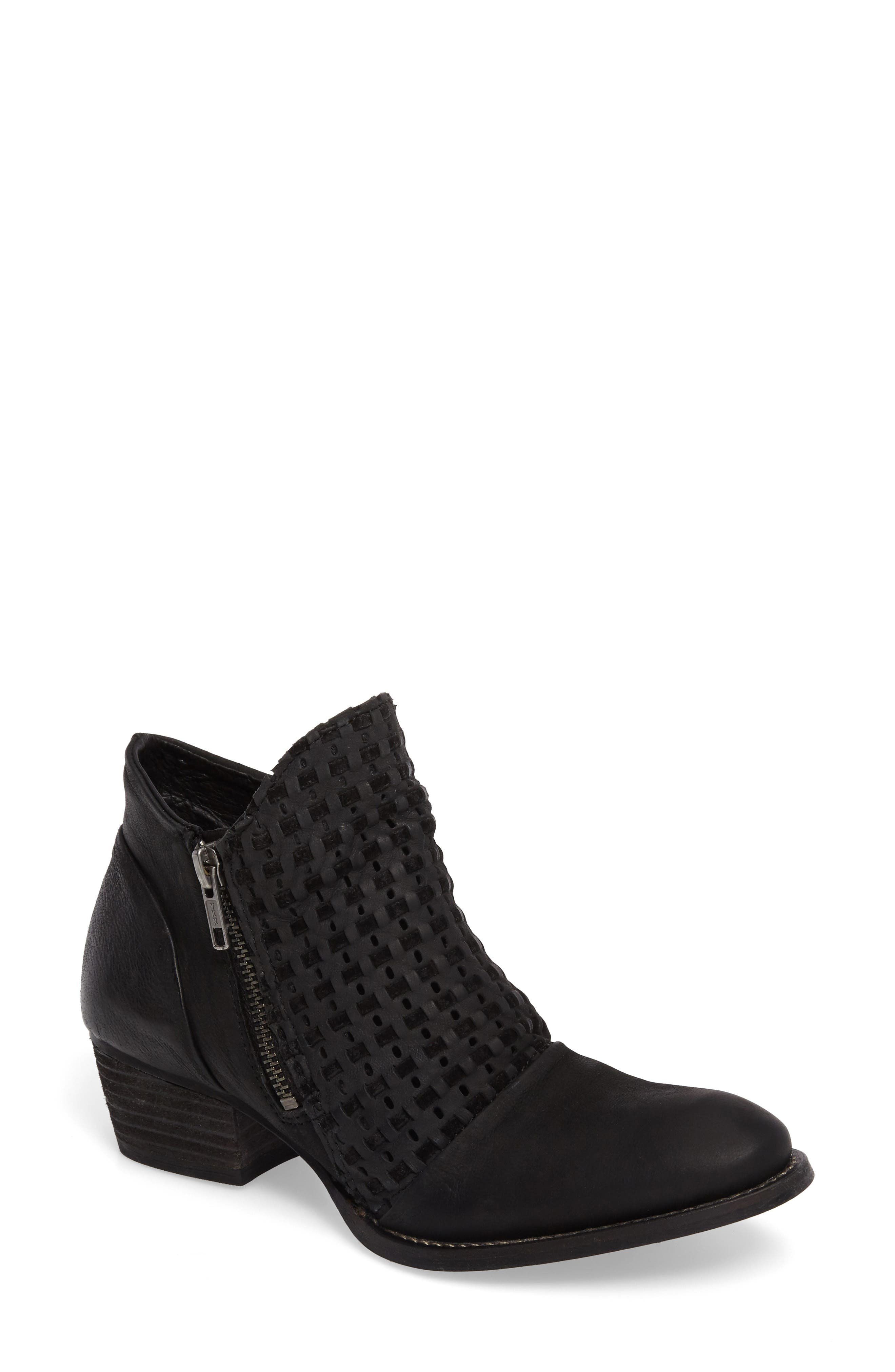 Ravi Perforated Woven Bootie,                             Main thumbnail 1, color,                             002