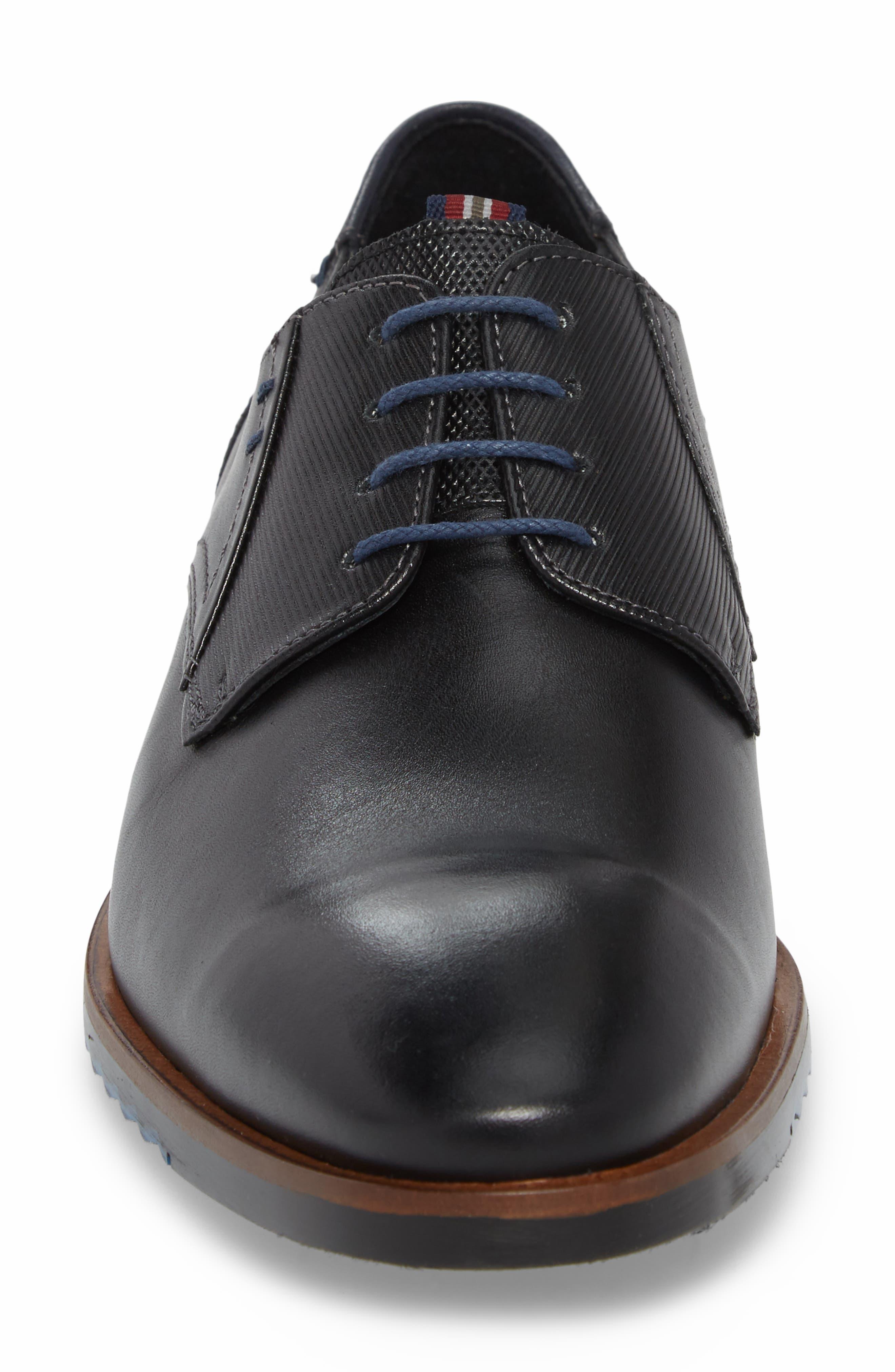 Deno Plain Toe Derby,                             Alternate thumbnail 4, color,                             BLACK/ BLUE LEATHER