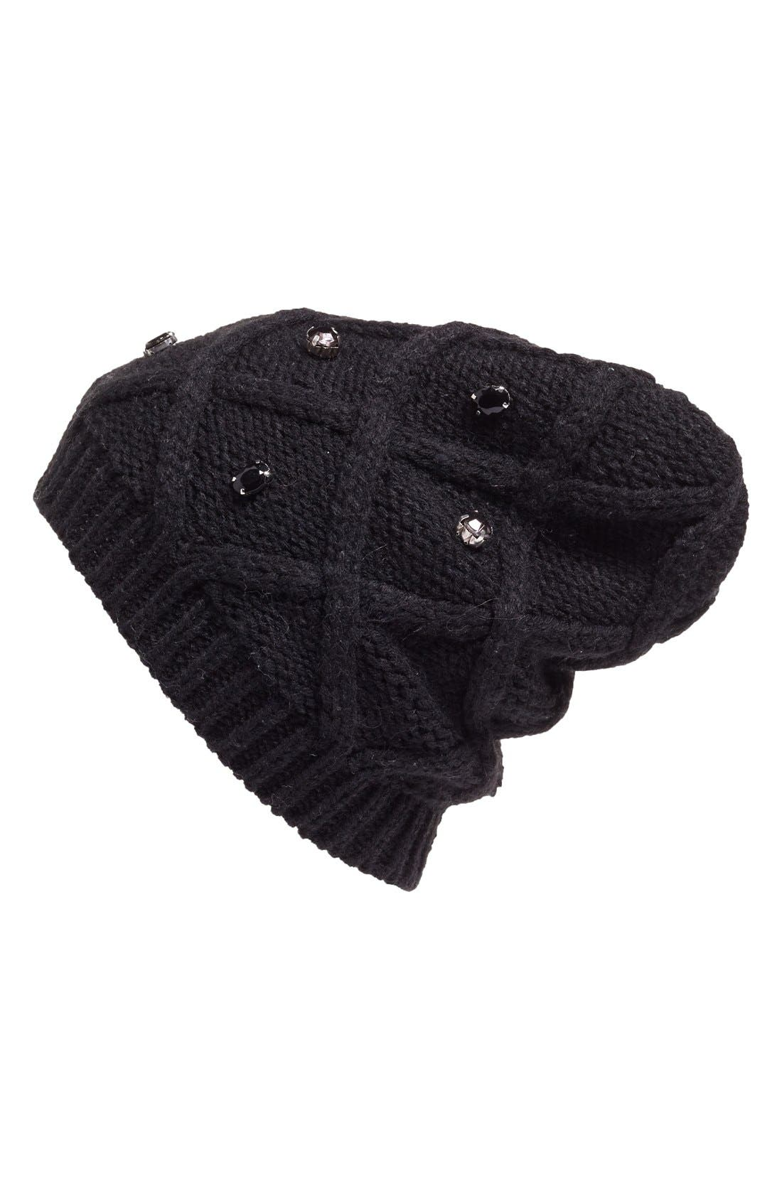 Embellished Knit Beanie,                             Main thumbnail 1, color,                             001