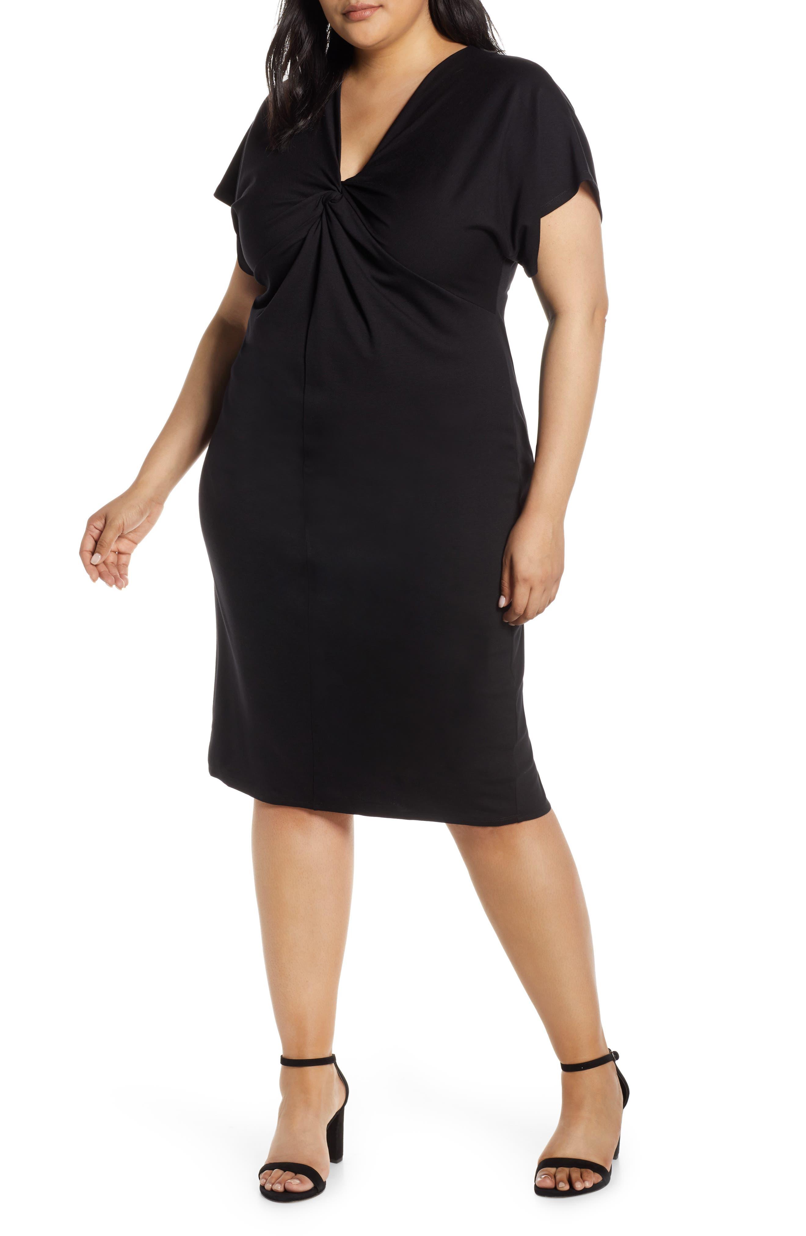 Plus Size Bobeau Aubri Twist Knit Dress, Black
