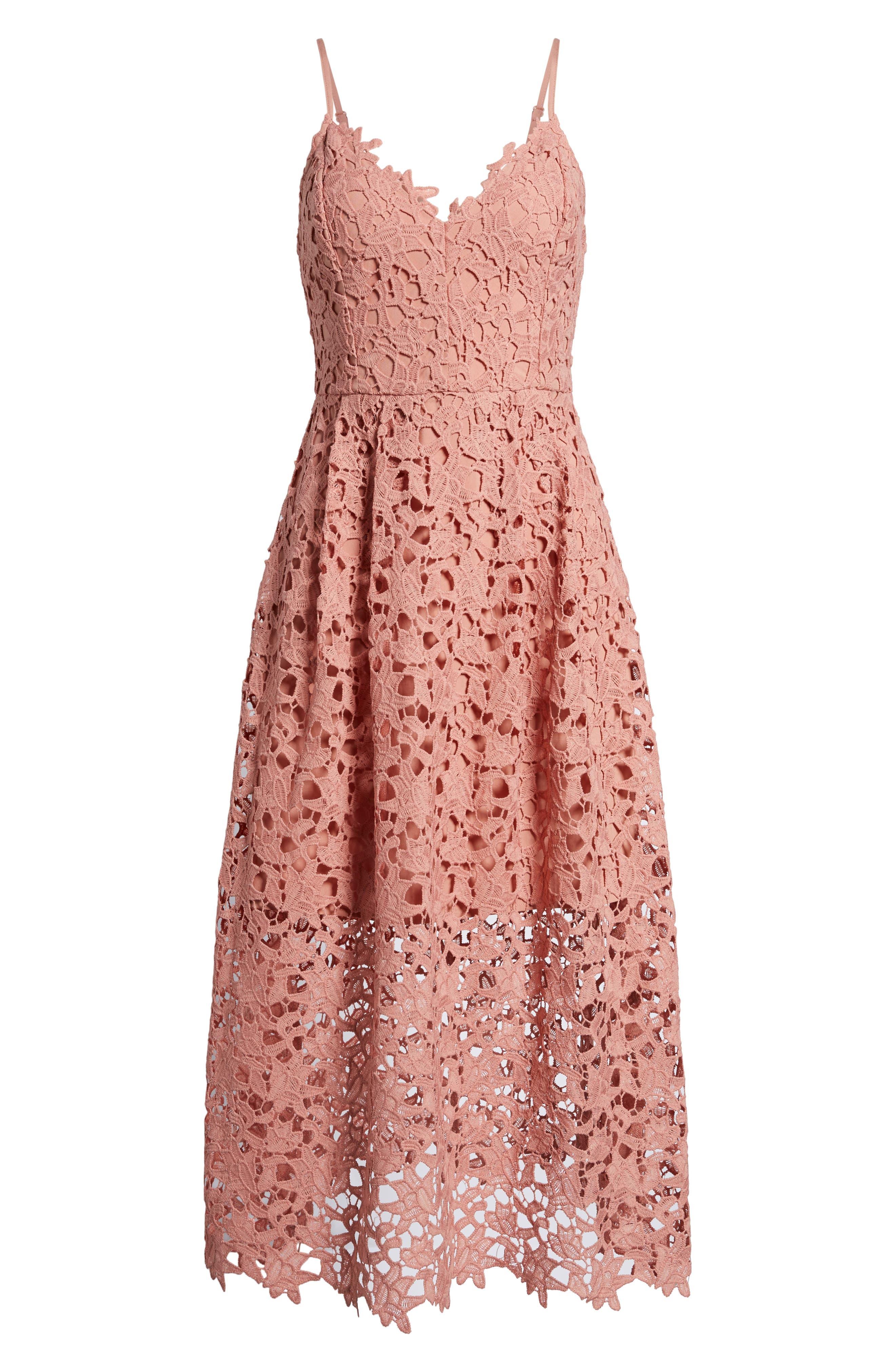 Lace Midi Dress,                             Alternate thumbnail 7, color,                             DARK BLUSH