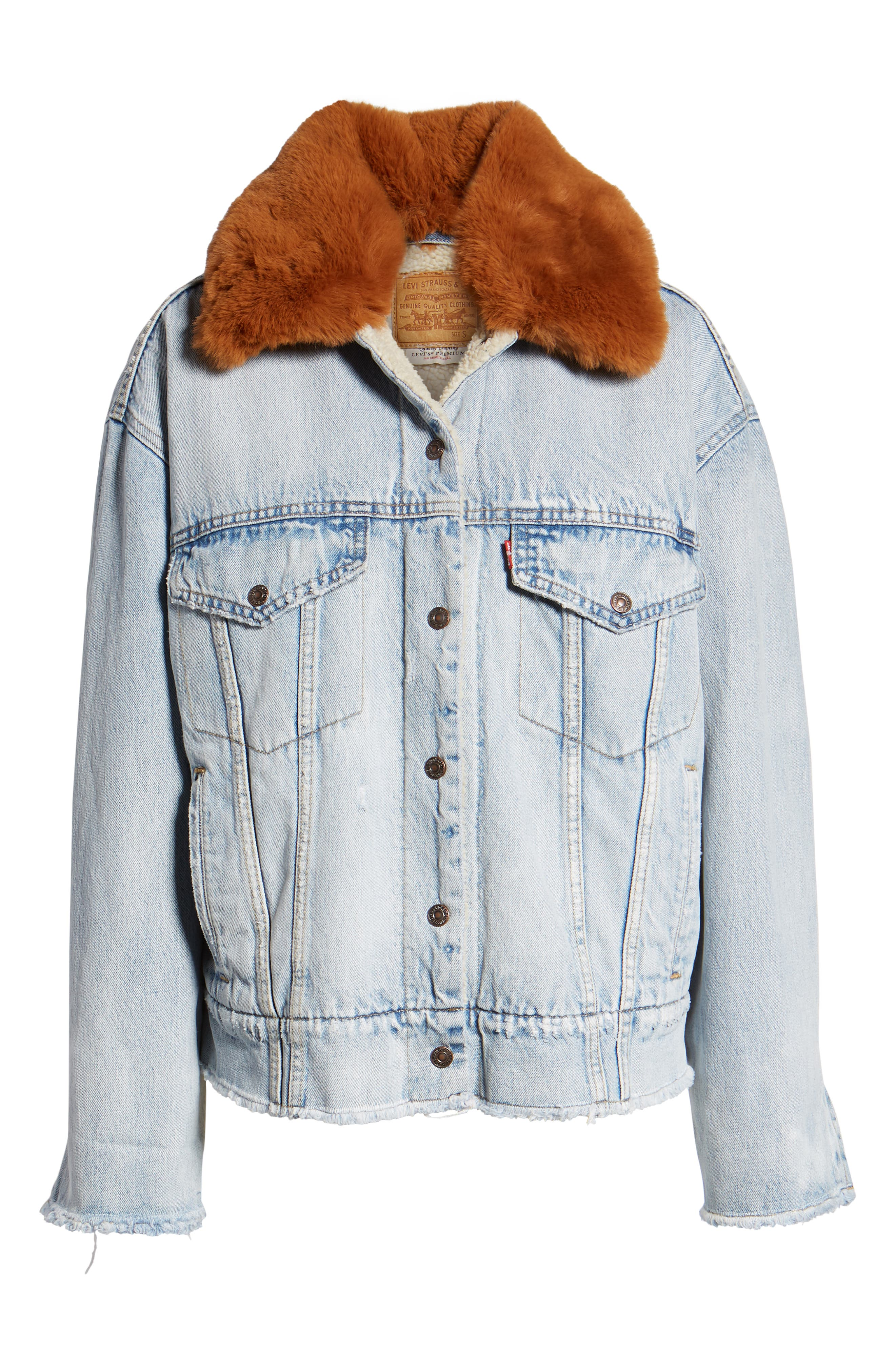 Oversize Faux Shearling Lined Denim Trucker Jacket with Removable Faux Fur Collar,                             Alternate thumbnail 6, color,                             401