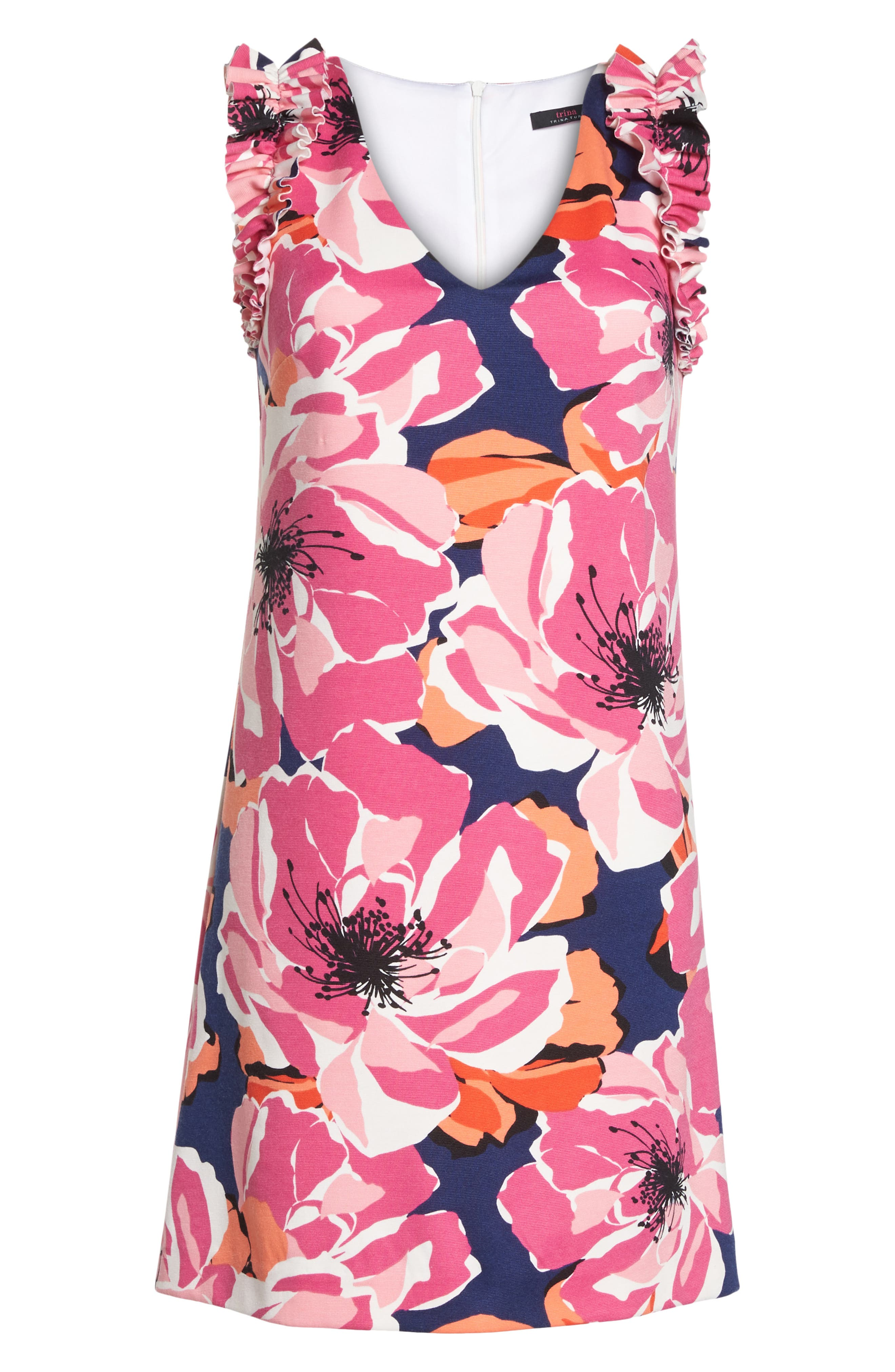 TRINA TRINA TURK,                             Sirena Ruffle Sheath Dress,                             Alternate thumbnail 6, color,                             650