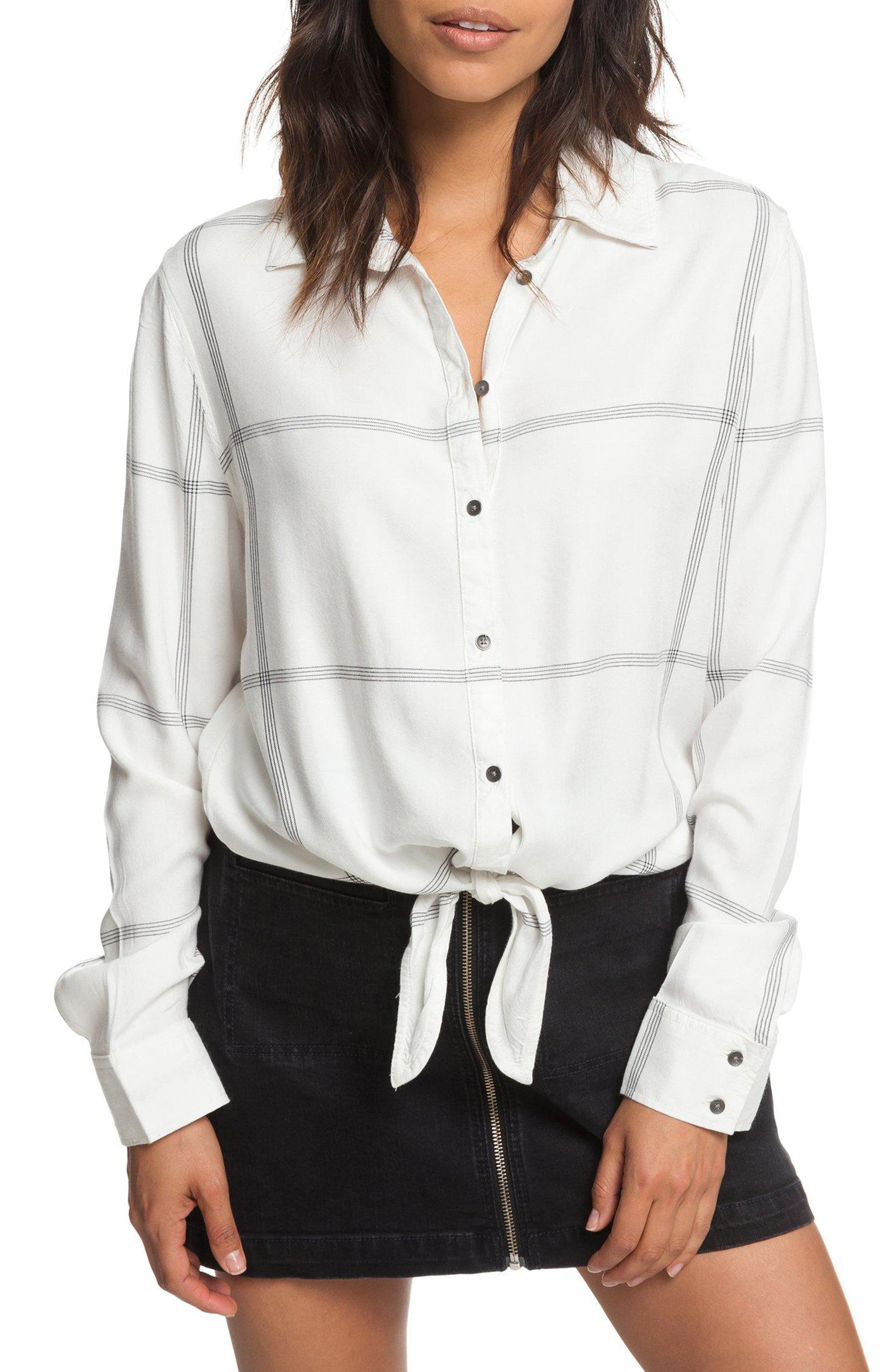 ROXY Suburb Vibes Tie Waist Top, Main, color, 100