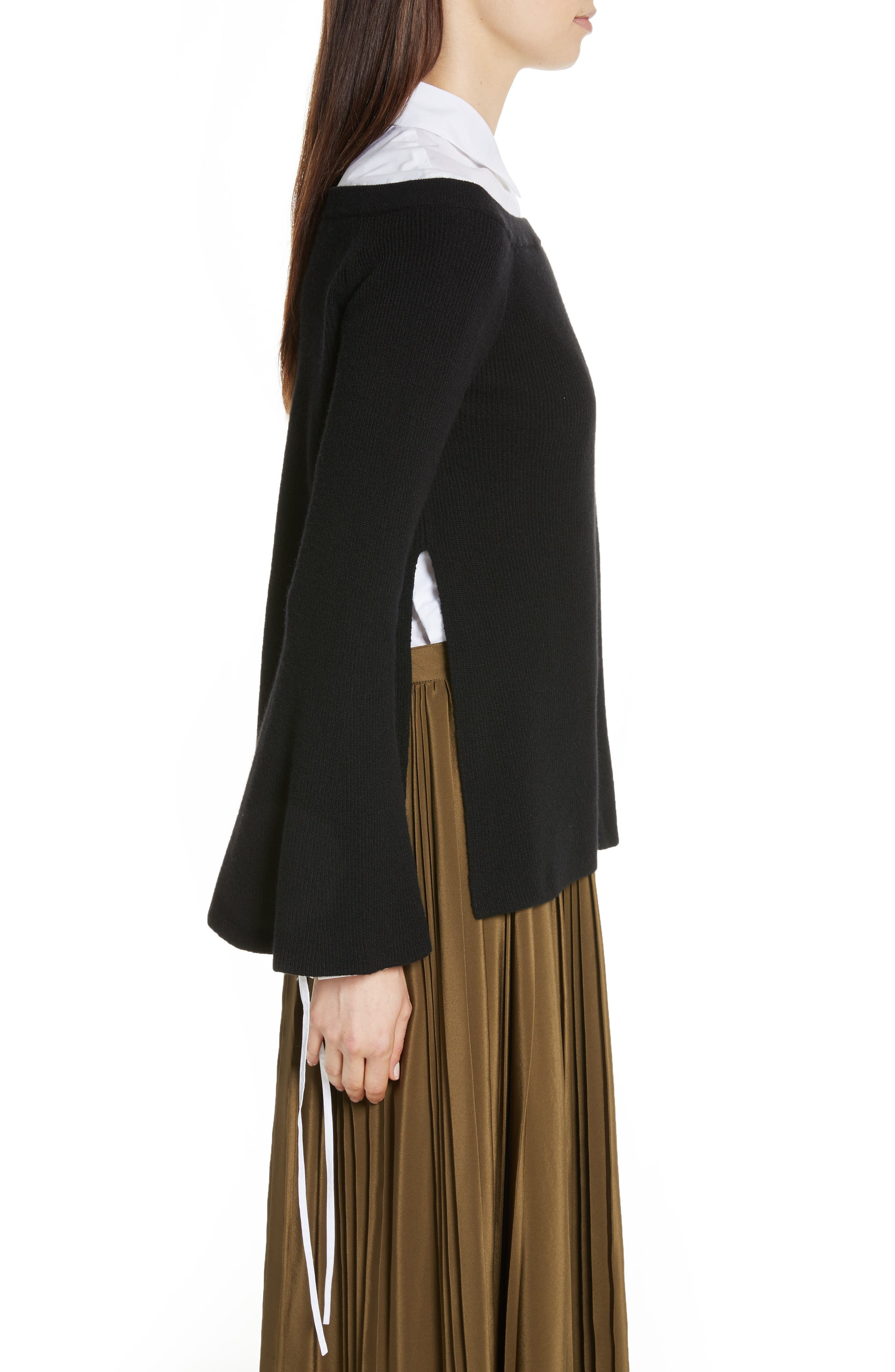 Off the Shoulder Wool & Cashmere Sweater,                             Alternate thumbnail 3, color,                             001