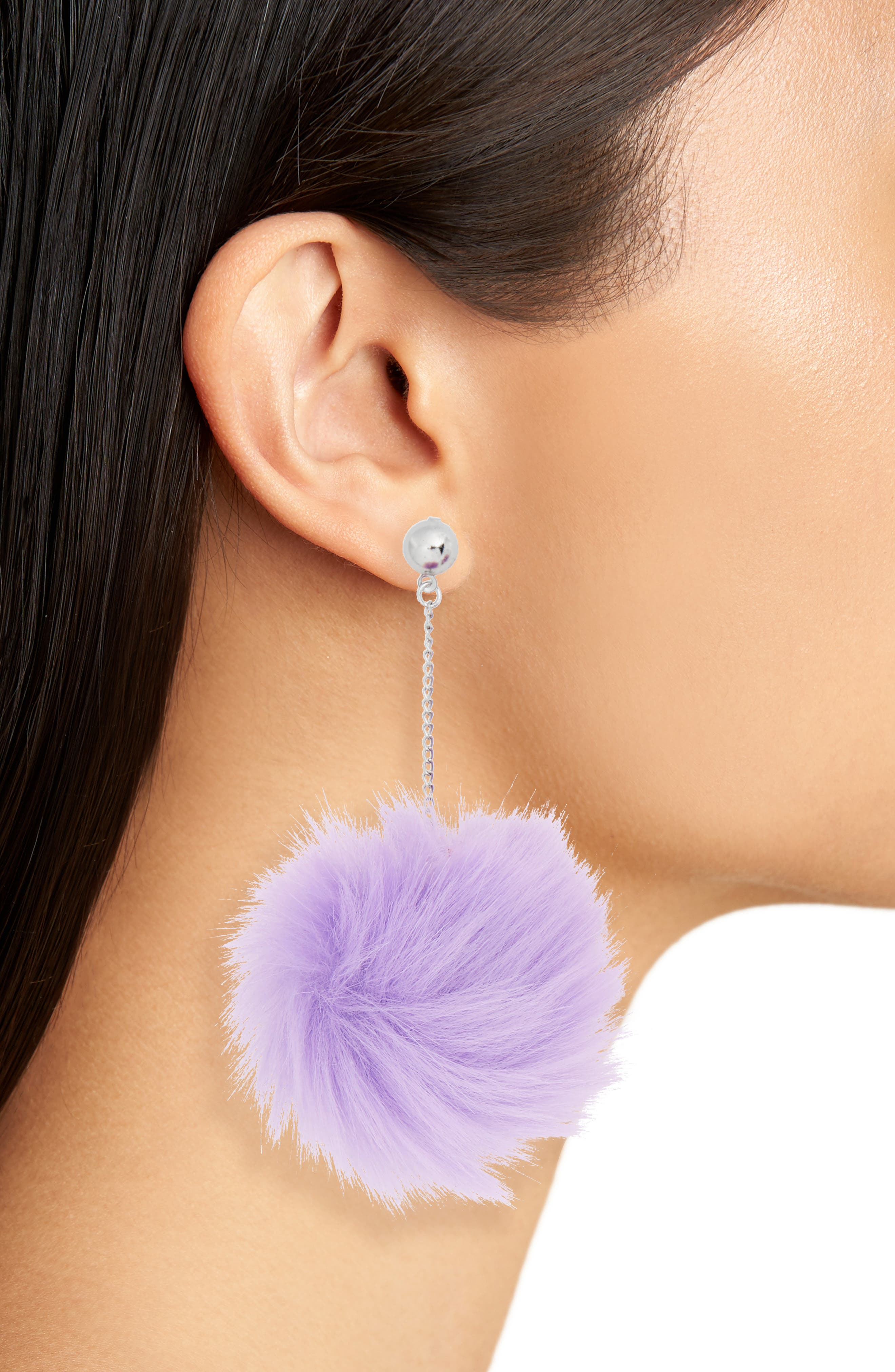 Lilac Faux Fur Drop Earrings,                             Alternate thumbnail 2, color,                             530