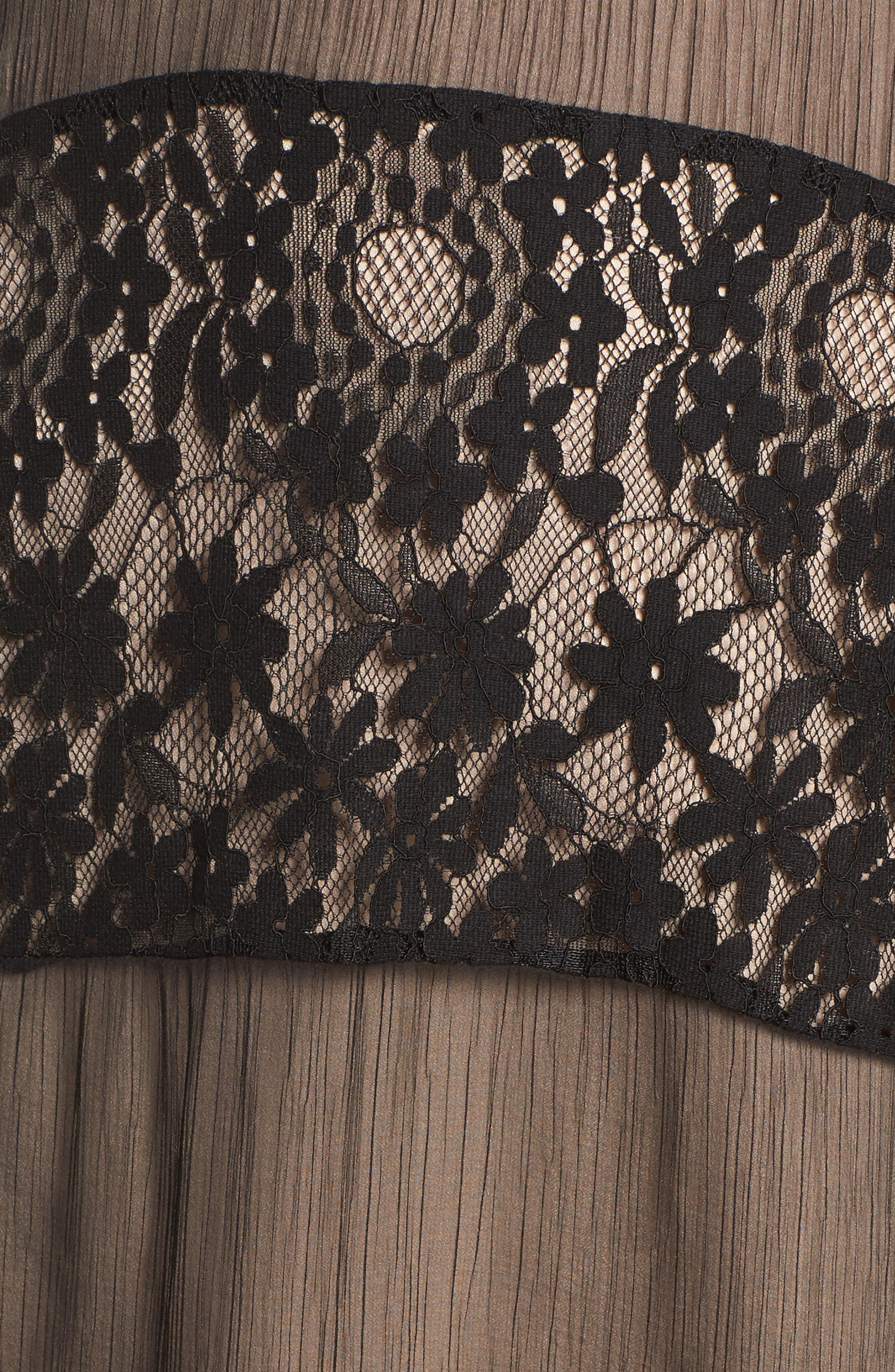 Tristan Lace & Chiffon Maxi Dress,                             Alternate thumbnail 5, color,                             001