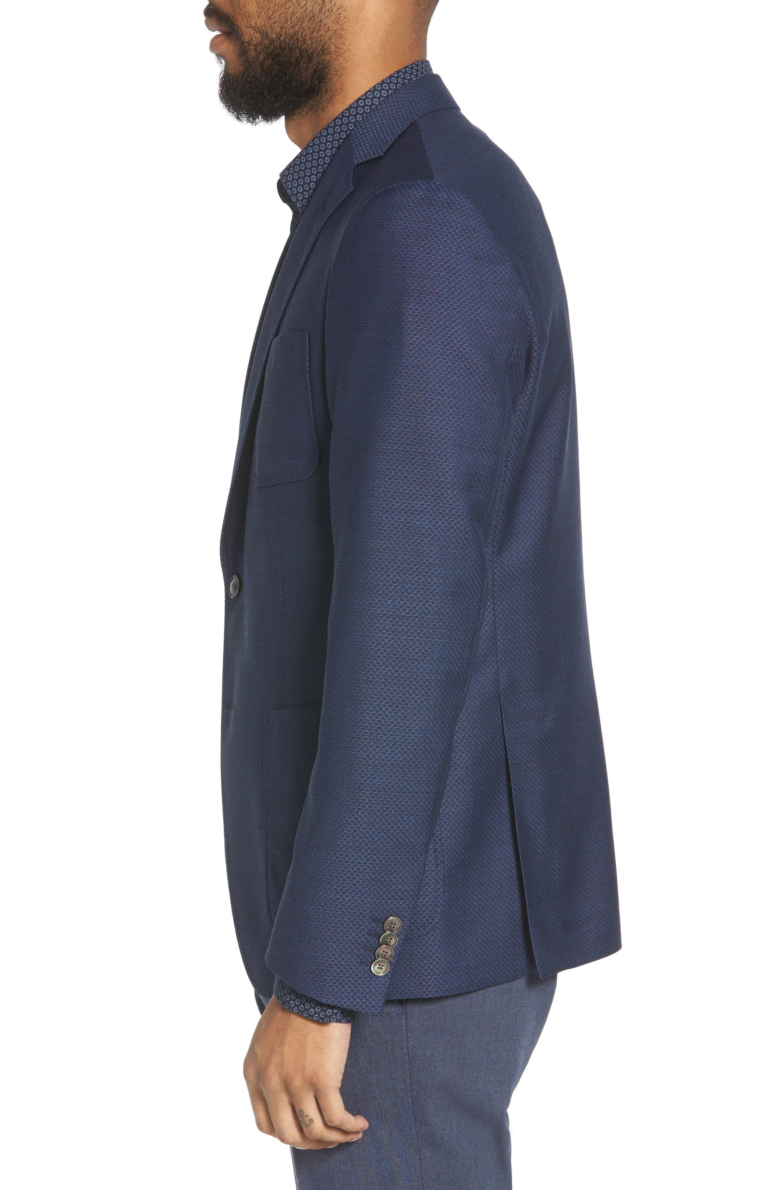 Raye Extra Trim Fit Wool Blazer,                             Alternate thumbnail 3, color,                             BLUE