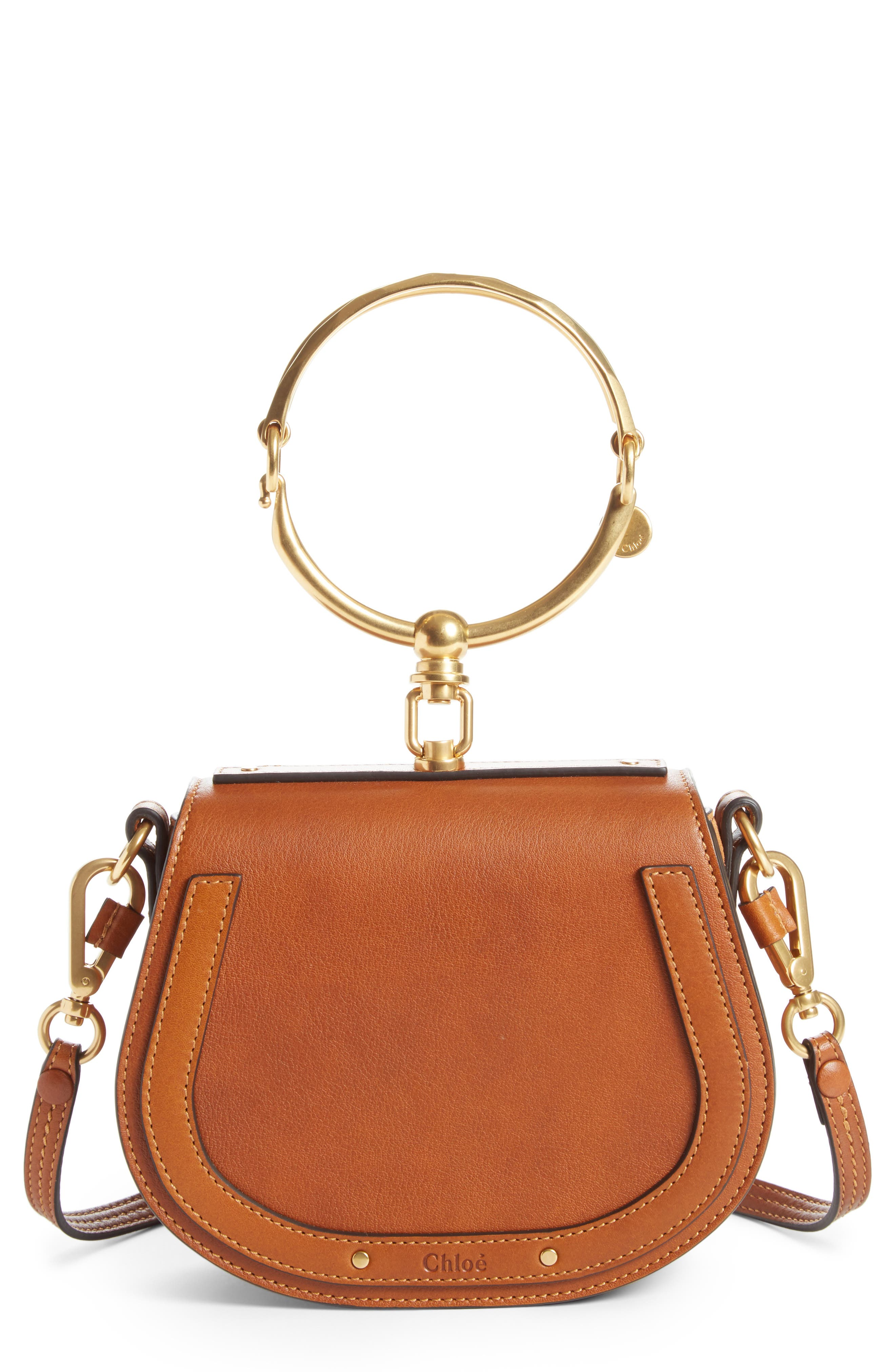Small Nile Bracelet Leather Crossbody Bag,                         Main,                         color, CARAMEL