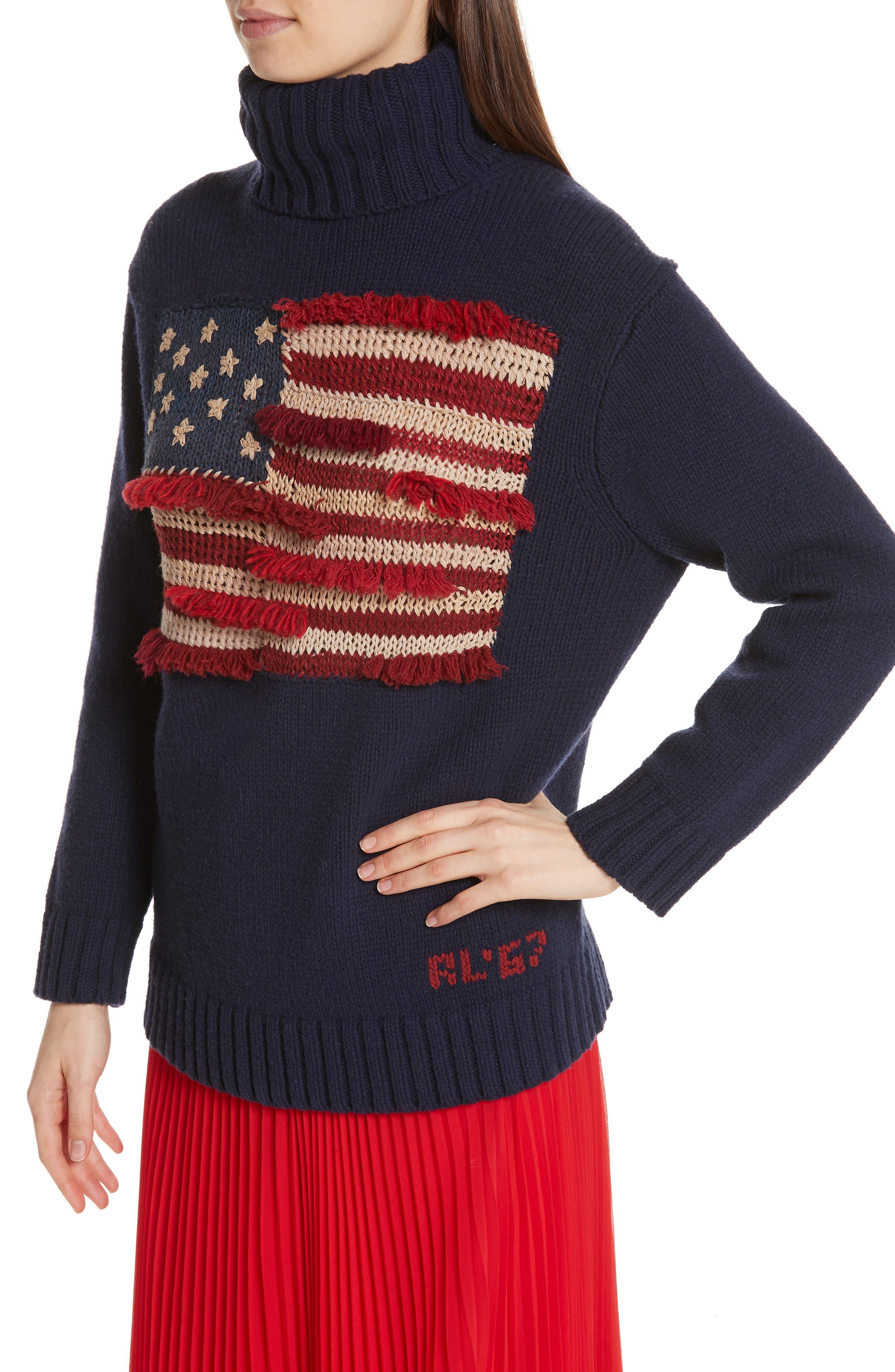 Fringe Flag Wool Sweater,                             Alternate thumbnail 4, color,                             NAVY MULTI
