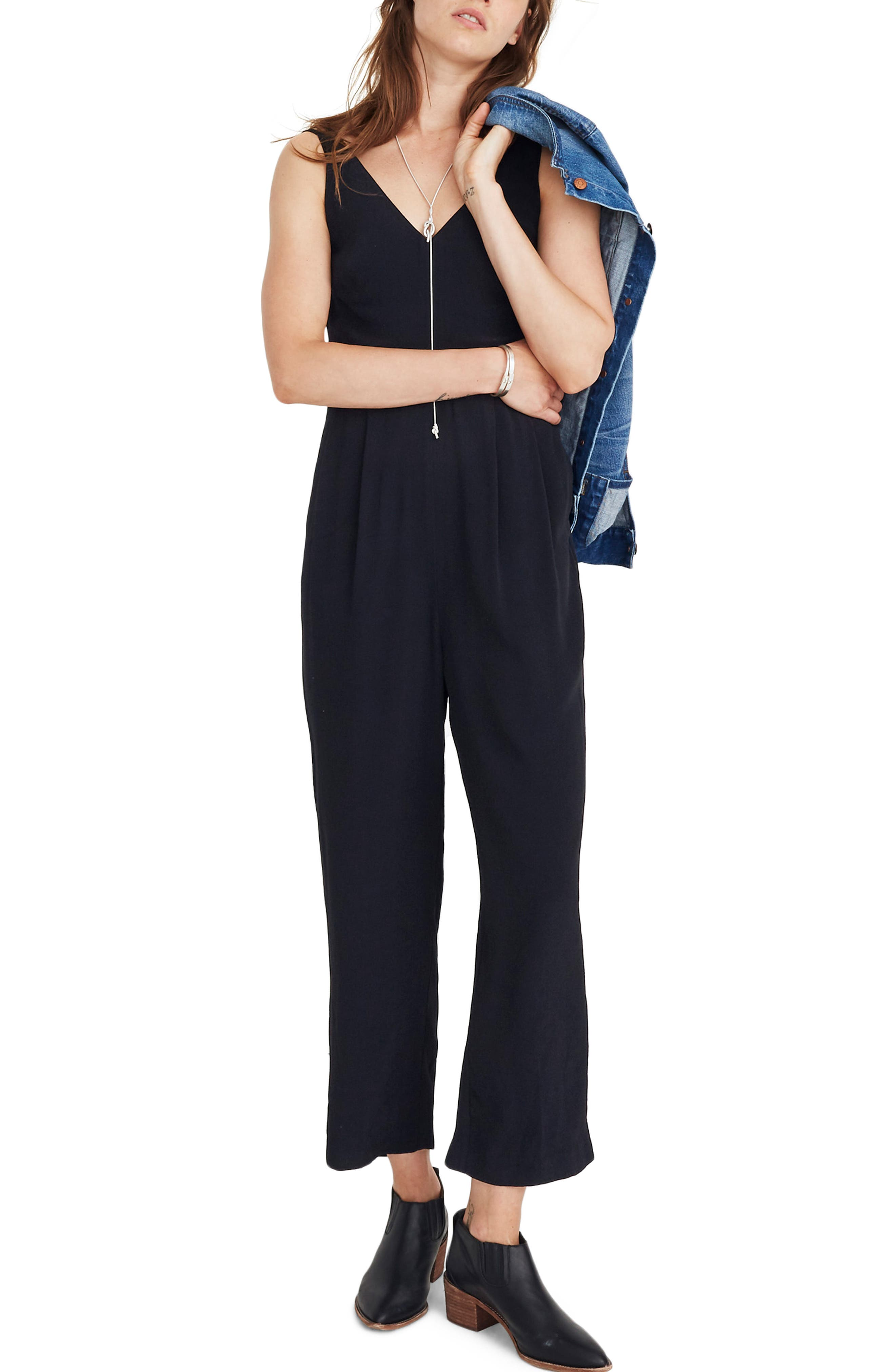 MADEWELL,                             V-Neck Jumpsuit,                             Main thumbnail 1, color,                             001