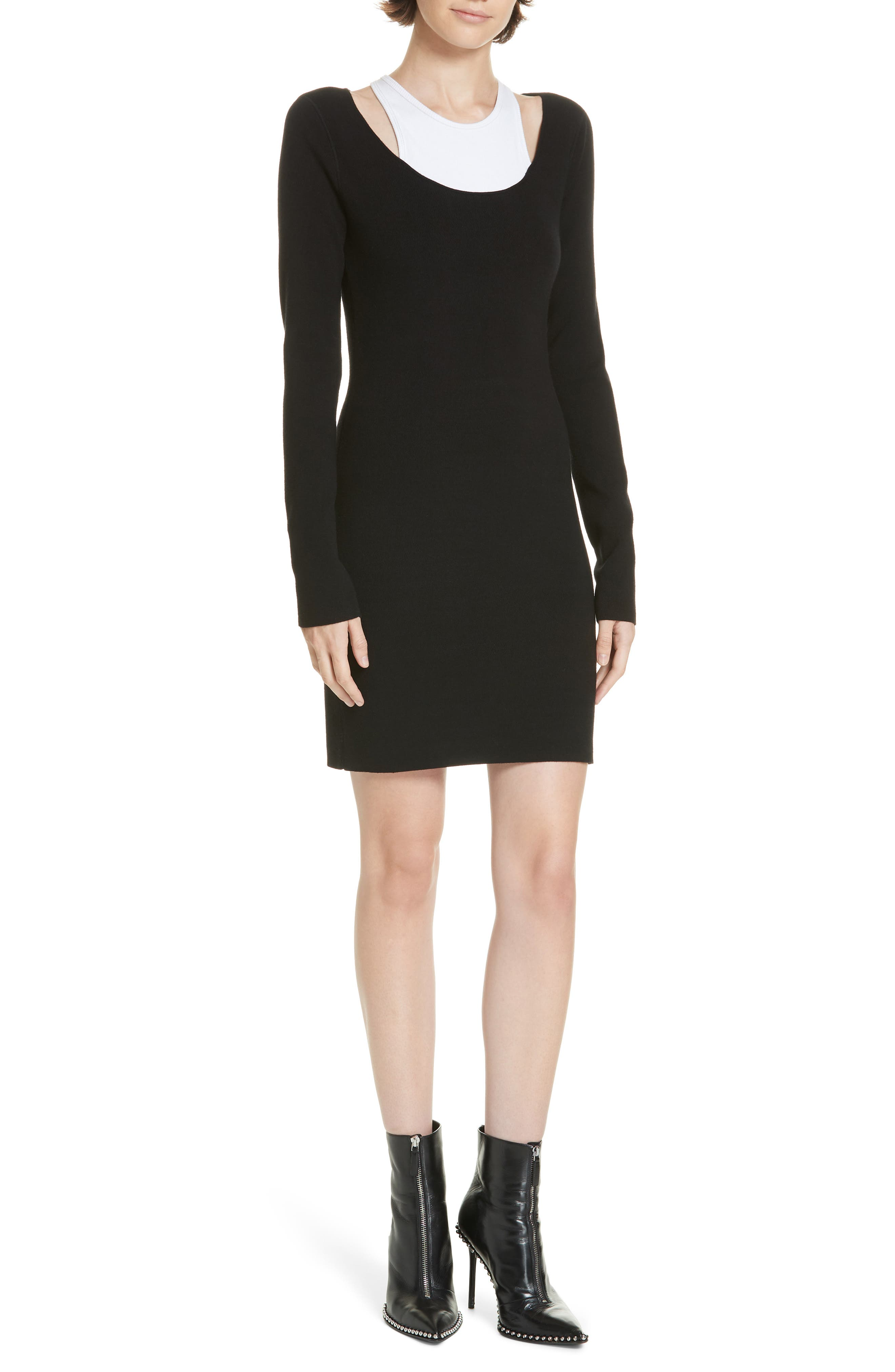 Alexanderwang.t Layered Body-Con Dress, Black