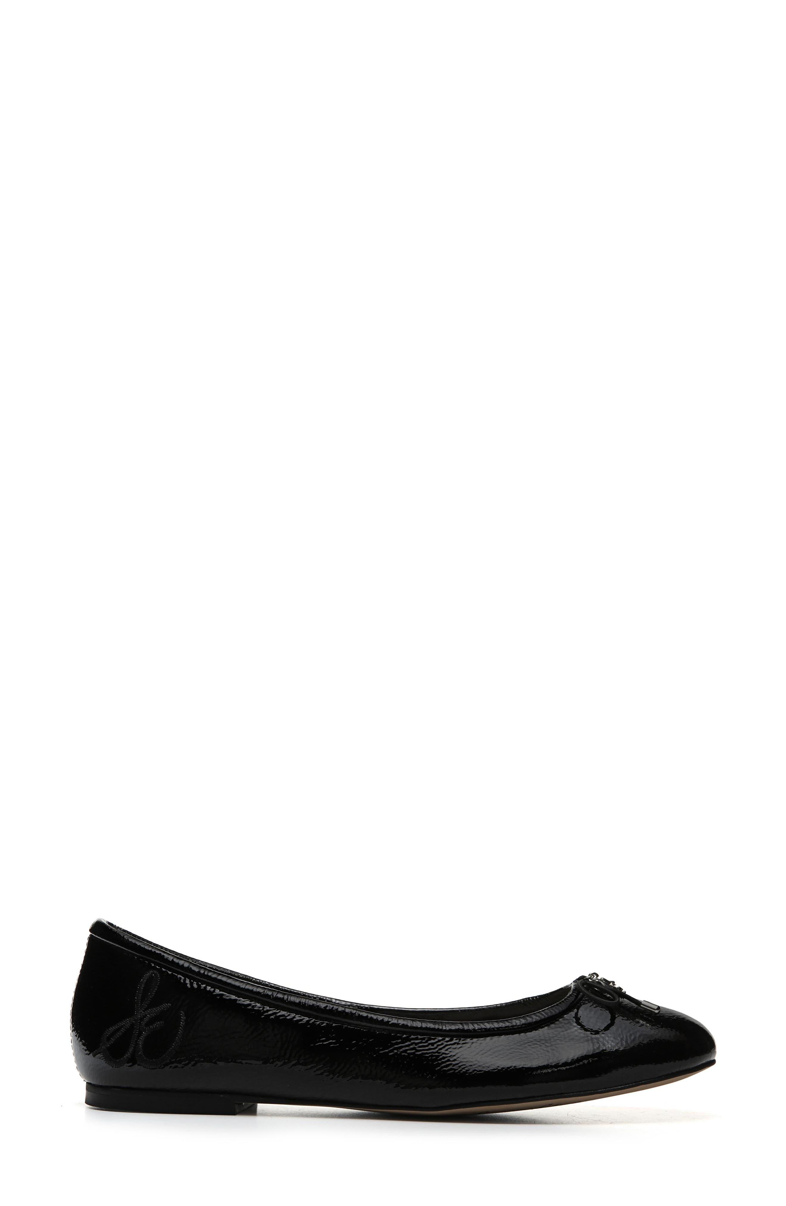 Felicia Flat,                             Alternate thumbnail 3, color,                             BLACK CRINKLE PATENT LEATHER