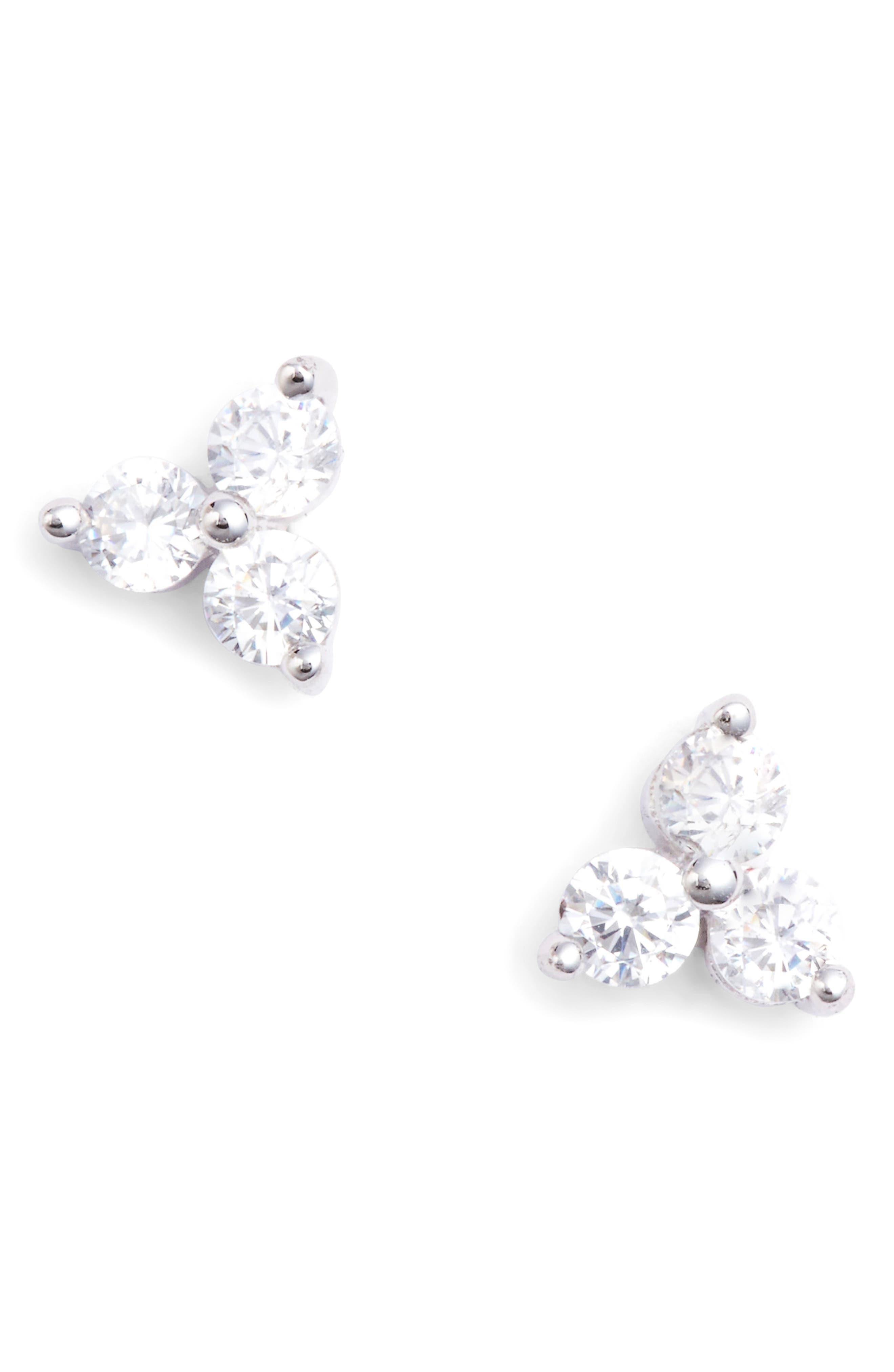 Three-Stone Stud Earrings, Main, color, 040