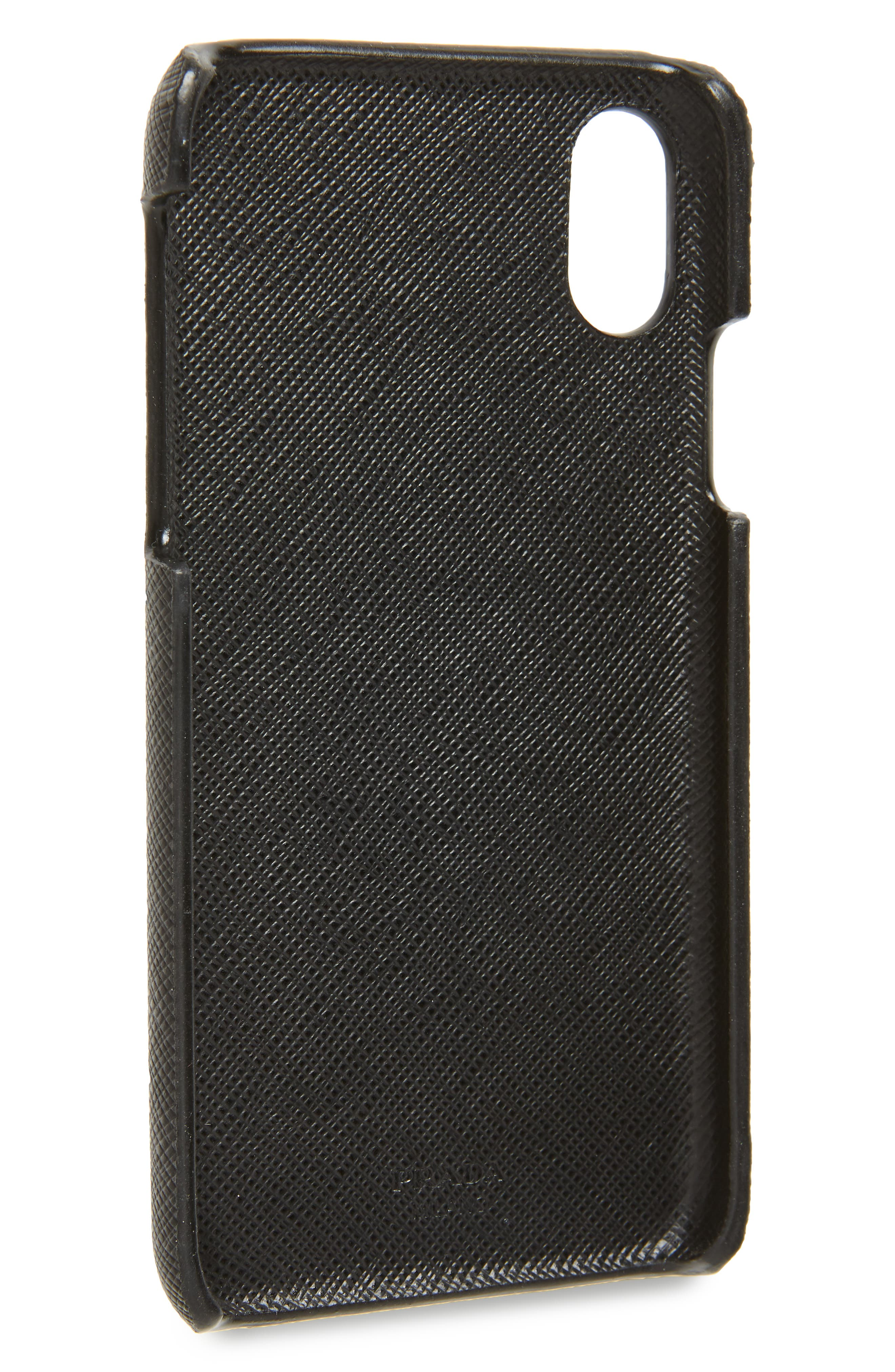 PRADA,                             Saffiano Leather iPhone X & Xs Case,                             Alternate thumbnail 2, color,                             001