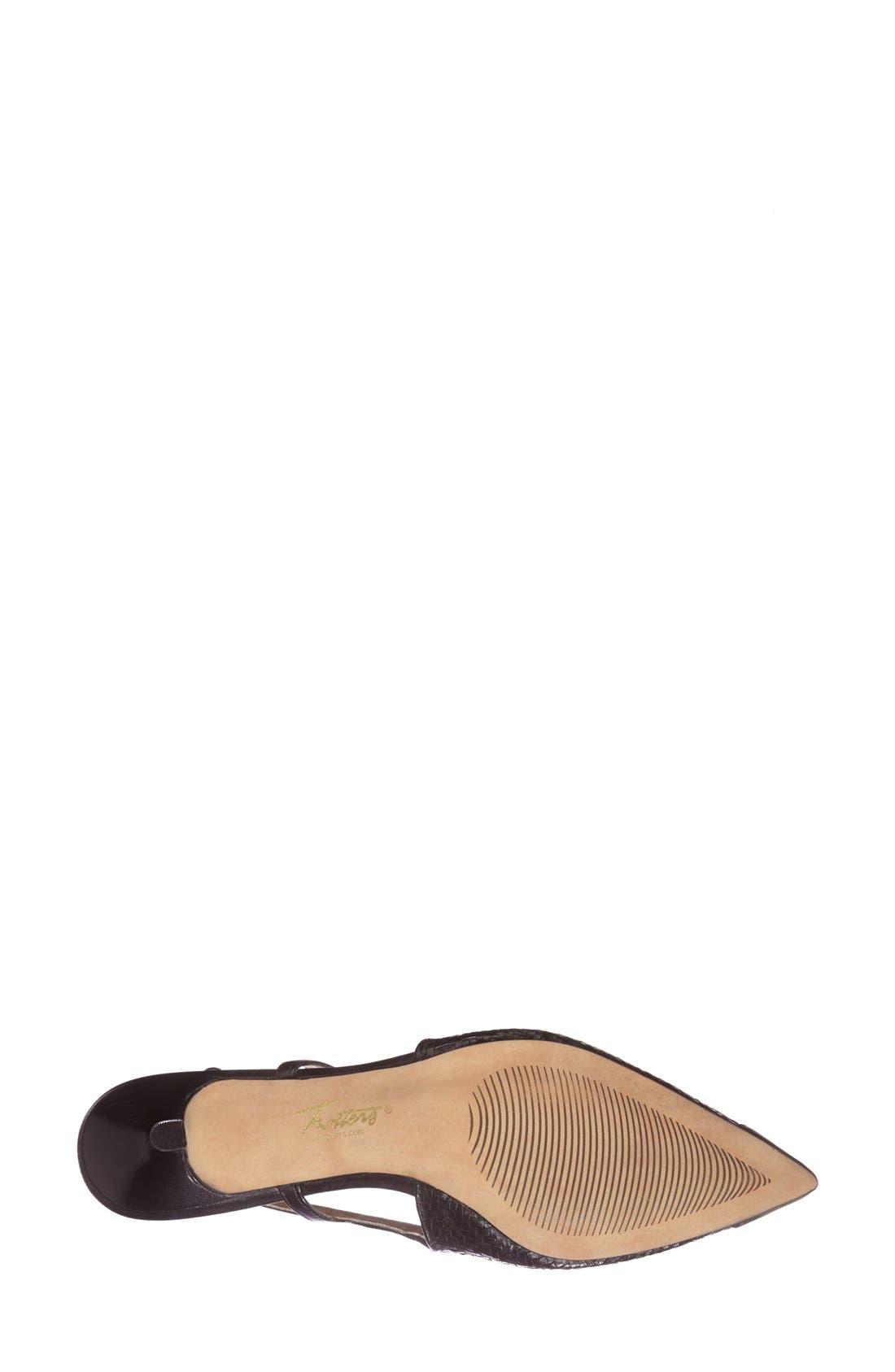 'Kimberly' Woven Leather Slingback Pump,                             Alternate thumbnail 4, color,                             BLACK