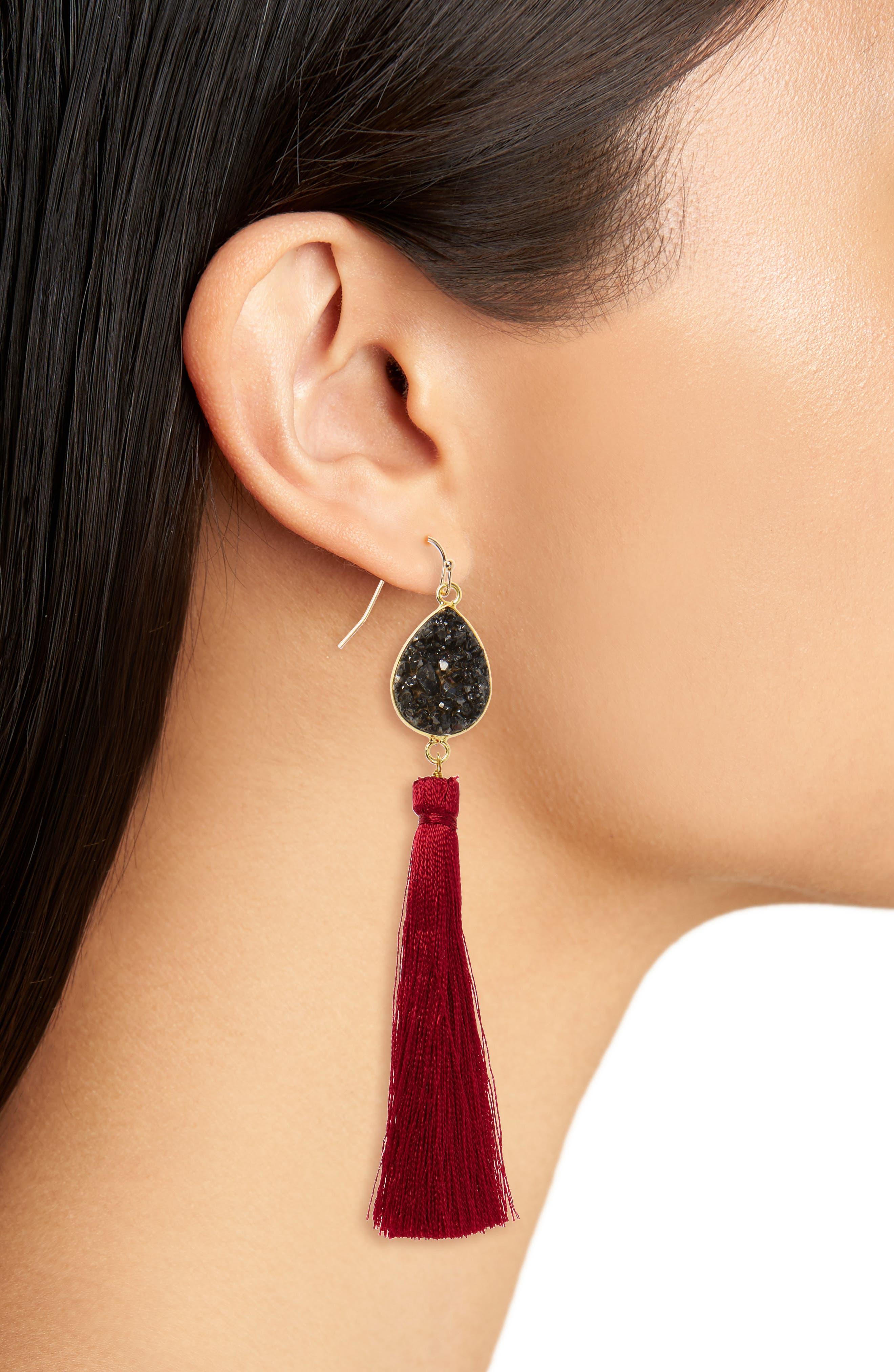Drusy Tassel Earrings,                             Alternate thumbnail 2, color,                             930