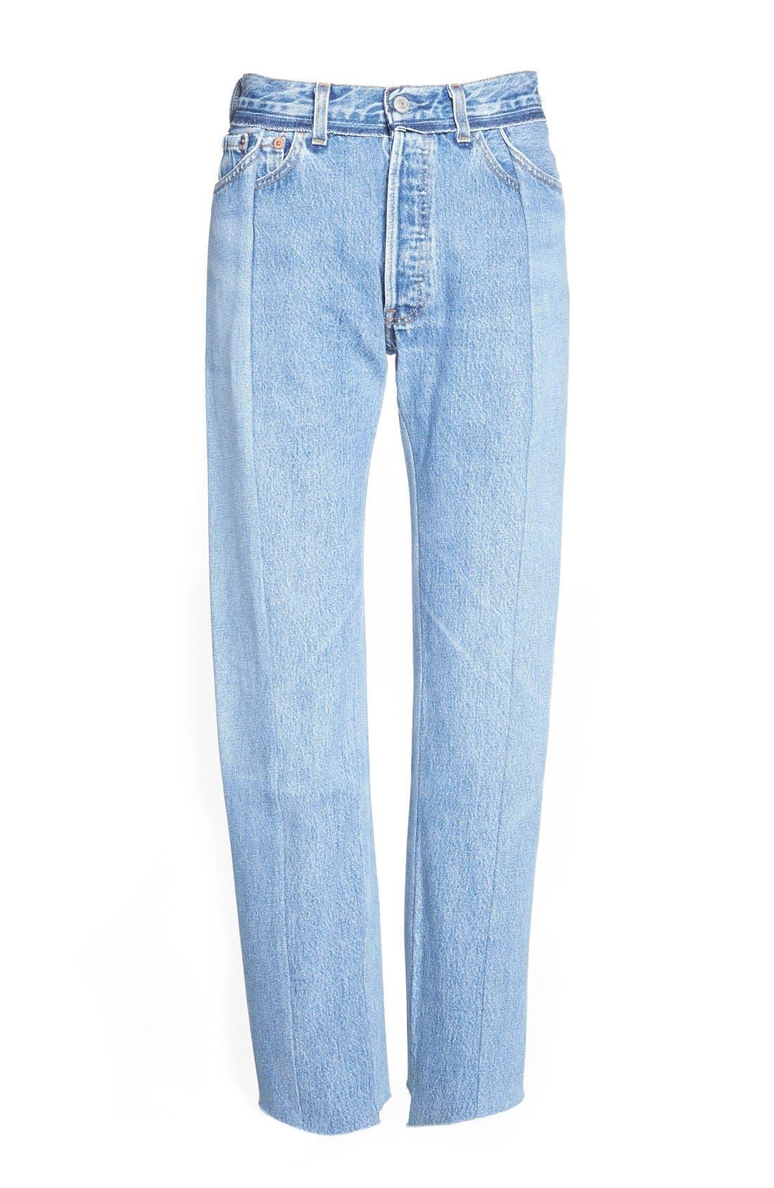 Deconstructed Crop Jeans,                         Main,                         color, 400