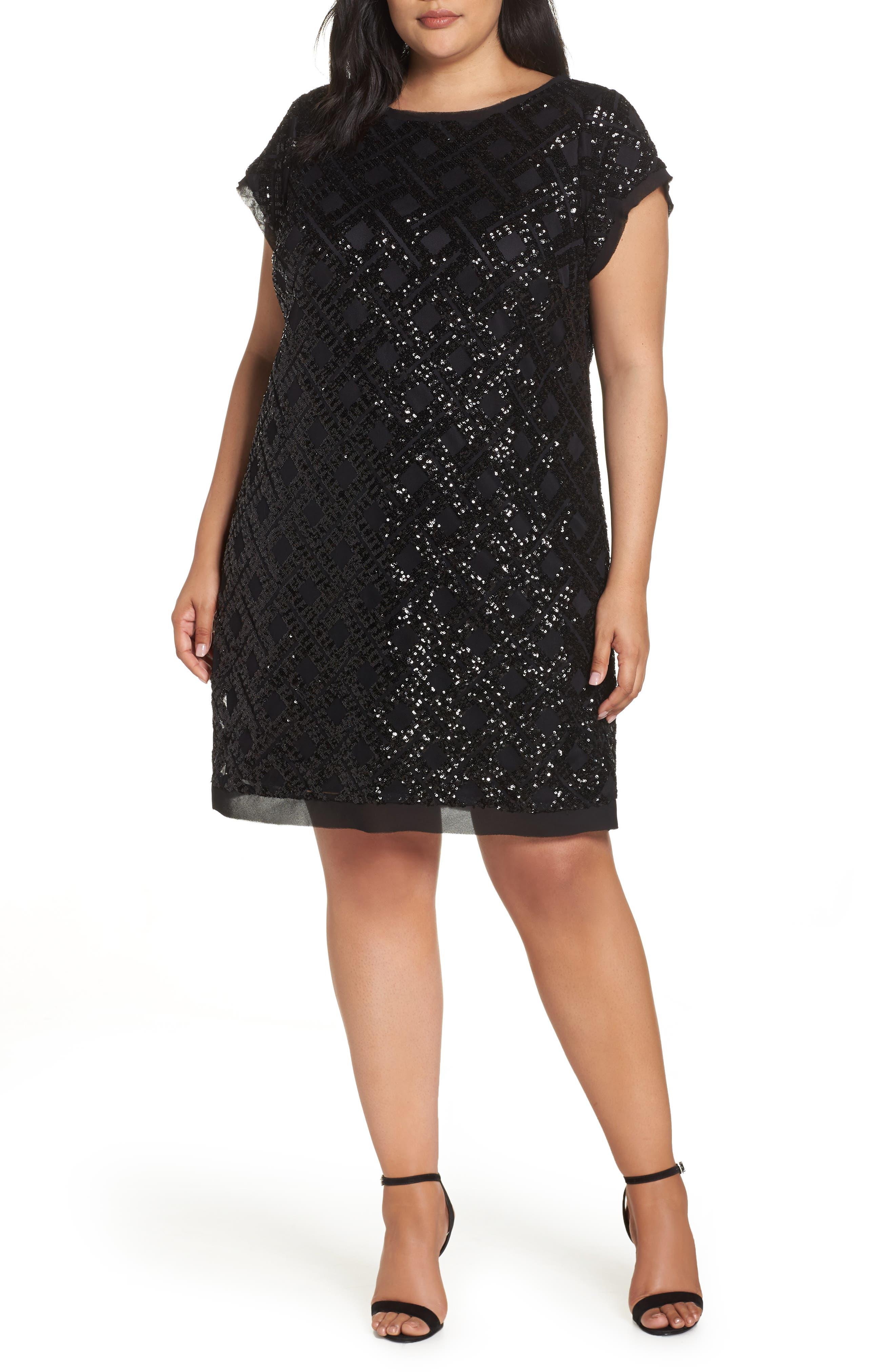 Sequin Sheath Dress,                             Main thumbnail 1, color,                             001