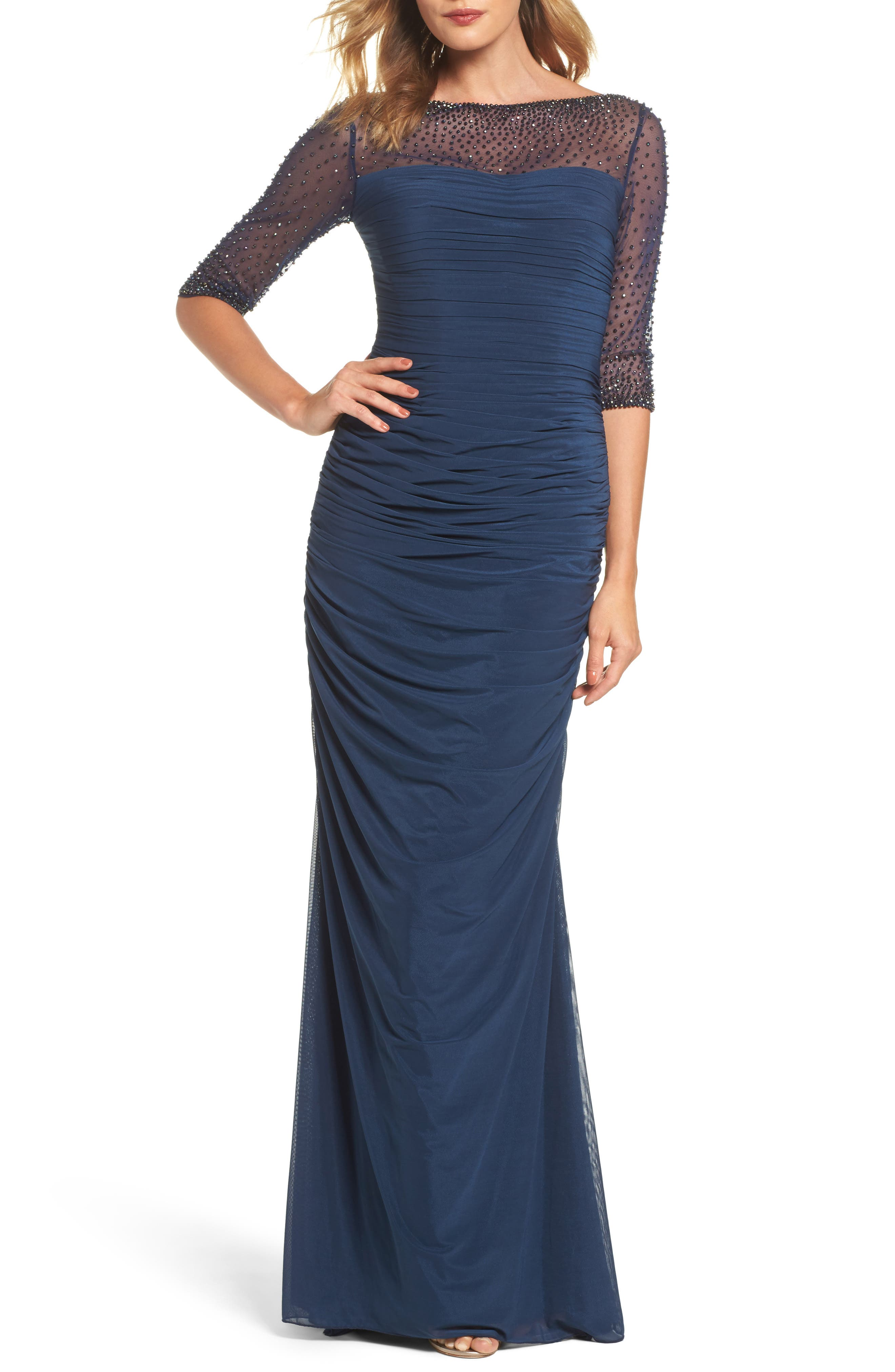Embellished Mesh Ruched Jersey Gown,                         Main,                         color, NAVY
