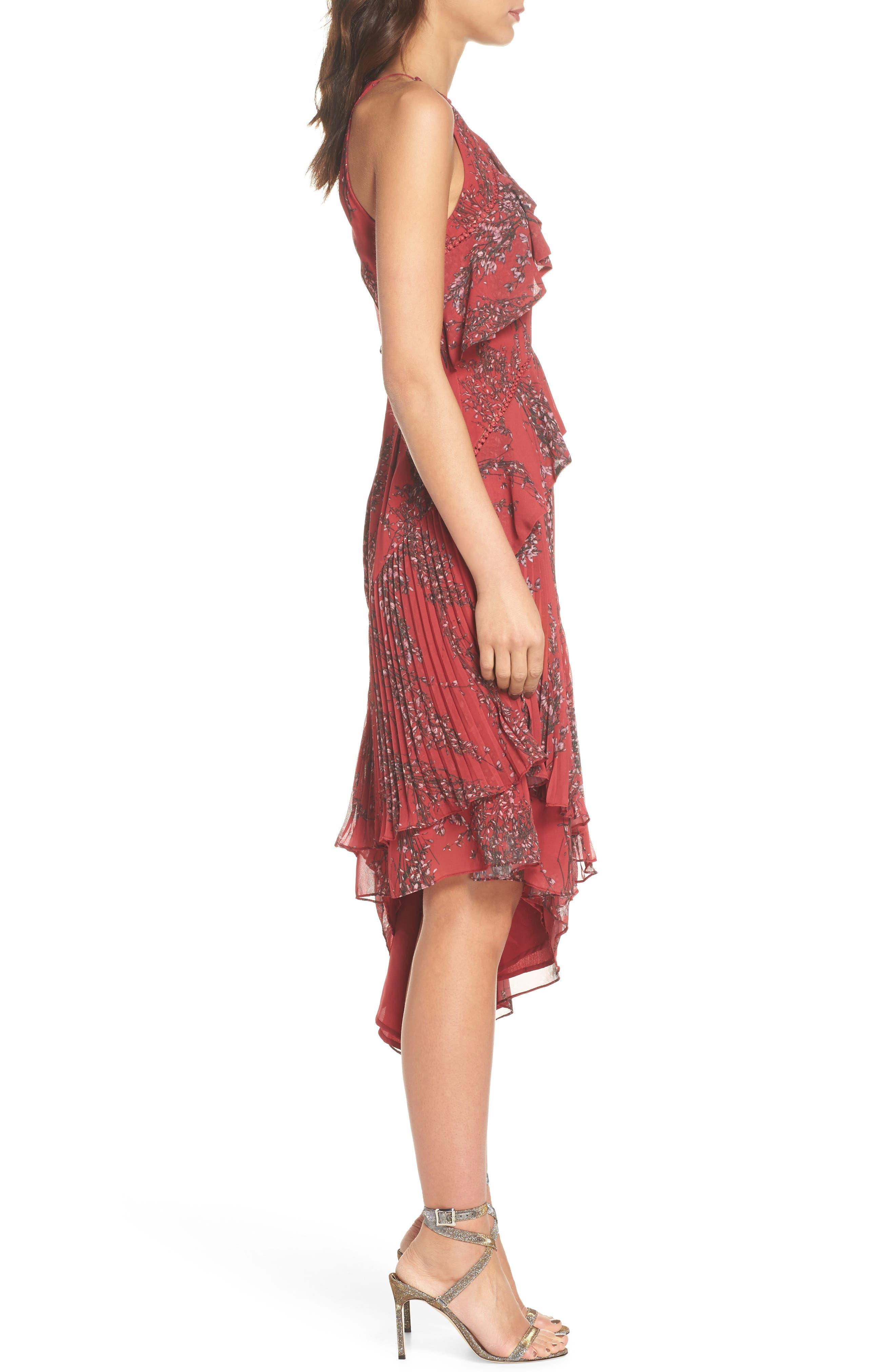 Asymmetrical Ruffle Dress,                             Alternate thumbnail 3, color,                             622