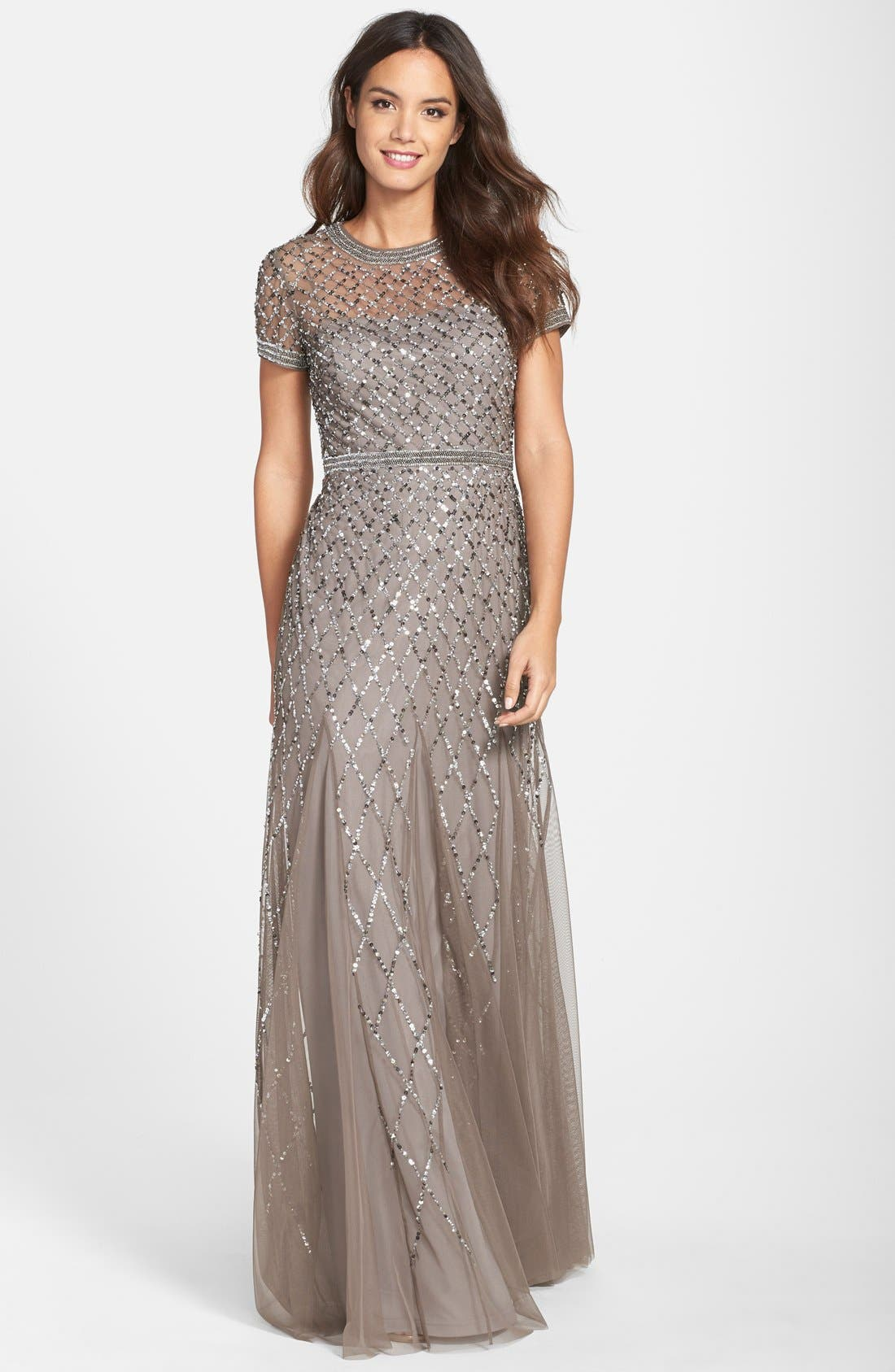 Beaded Mesh Gown,                             Main thumbnail 1, color,