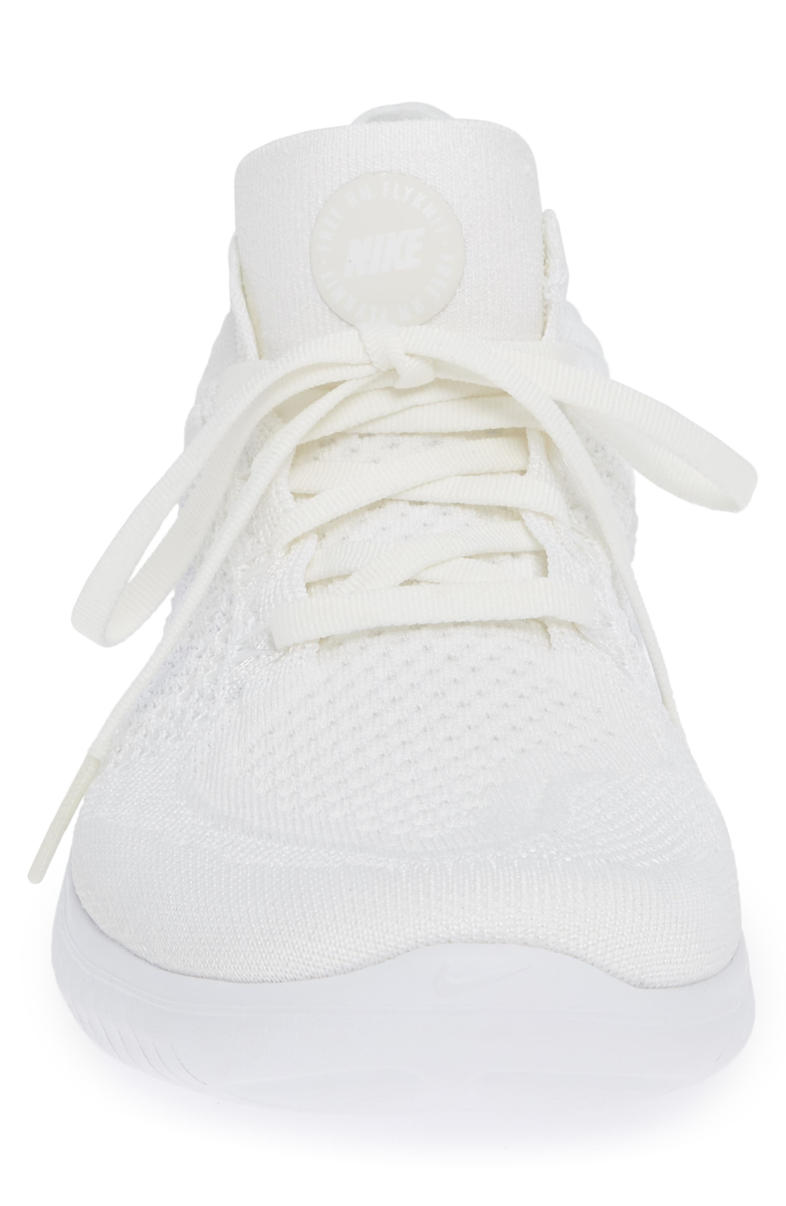 NIKE,                             Free RN Flyknit 2018 Running Shoe,                             Alternate thumbnail 4, color,                             WHITE/ WHITE