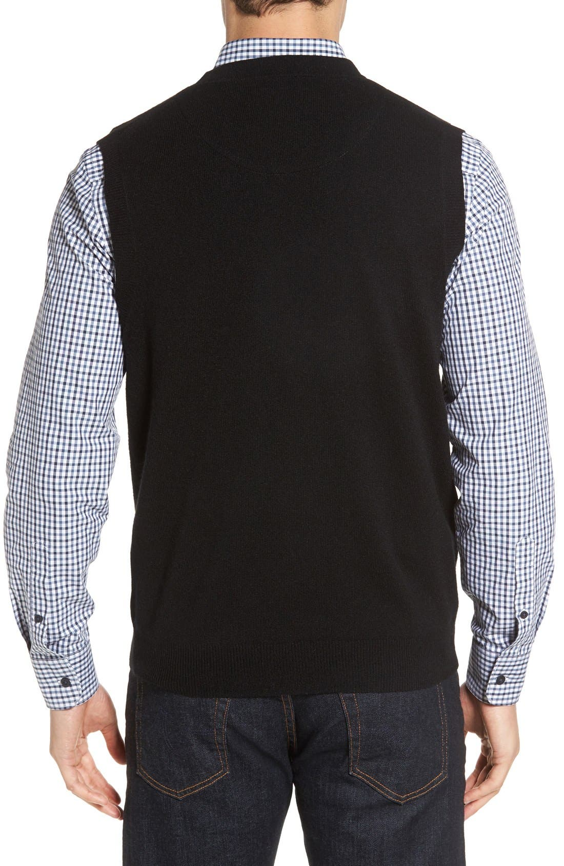 Cashmere V-Neck Sweater Vest,                             Alternate thumbnail 7, color,                             BLACK CAVIAR
