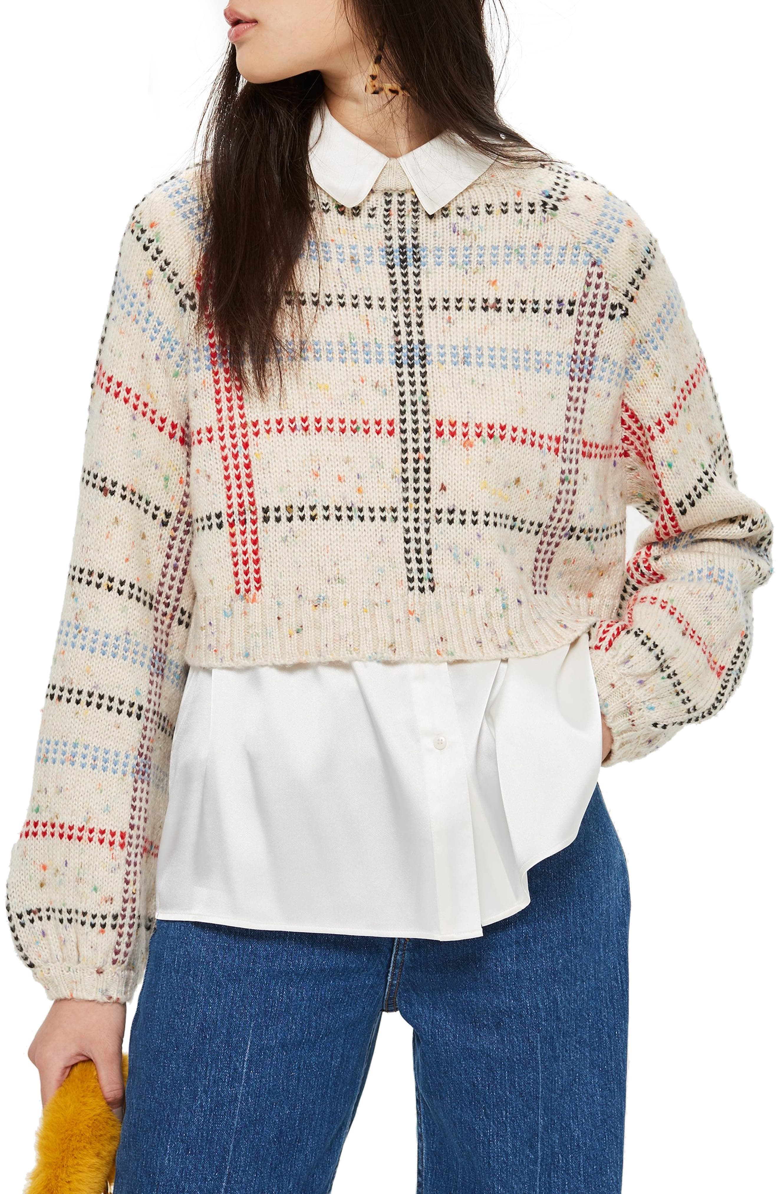 Check Pattern Sweater,                             Main thumbnail 1, color,                             IVORY MULTI