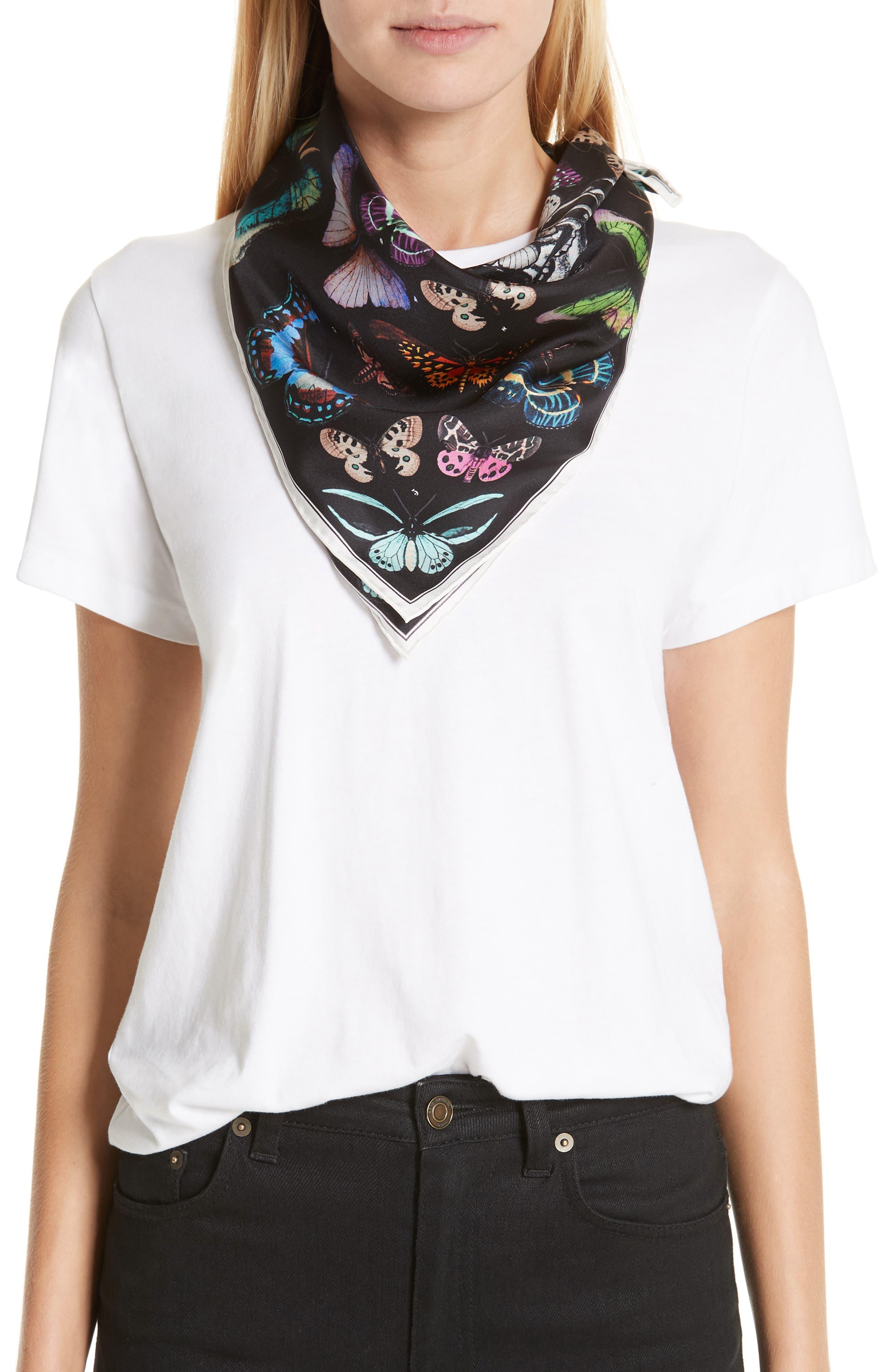 Skull & Rainbow Butterflies Print Silk Bandana,                             Alternate thumbnail 2, color,                             BLACK/ IVORY