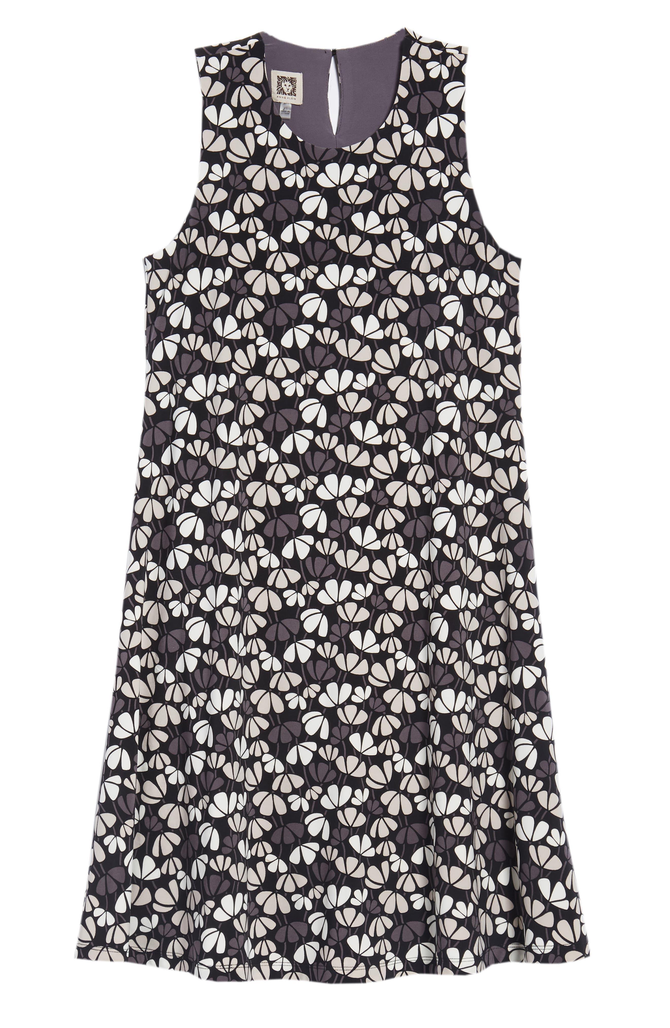 Flowerfall Stretch Knit Swing Dress,                             Alternate thumbnail 7, color,                             001