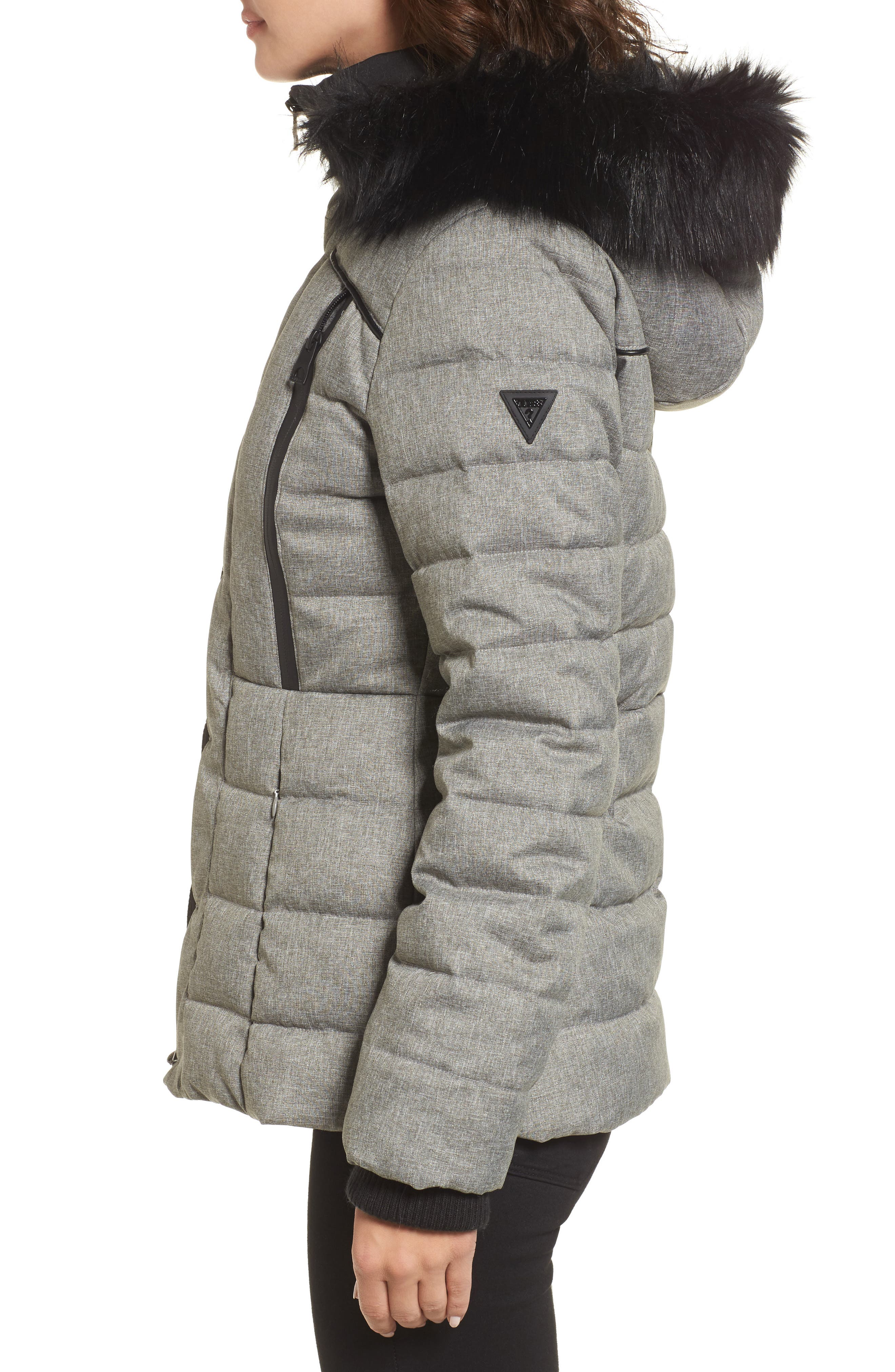 Quilted Hooded Puffer Coat with Faux Fur Trim,                             Alternate thumbnail 3, color,                             064