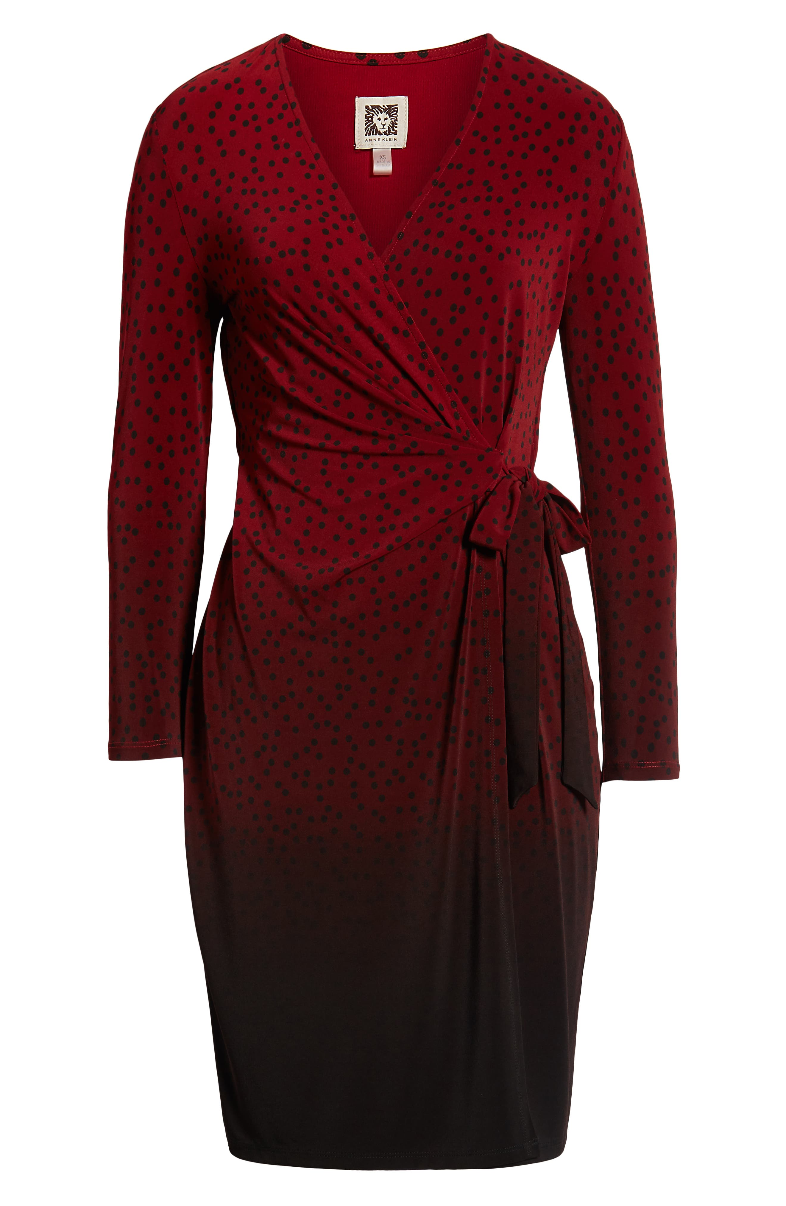 ANNE KLEIN,                             Camille Dot Faux Wrap Dress,                             Alternate thumbnail 7, color,                             DK TITIAN RED/ ANNE BLK COMBO