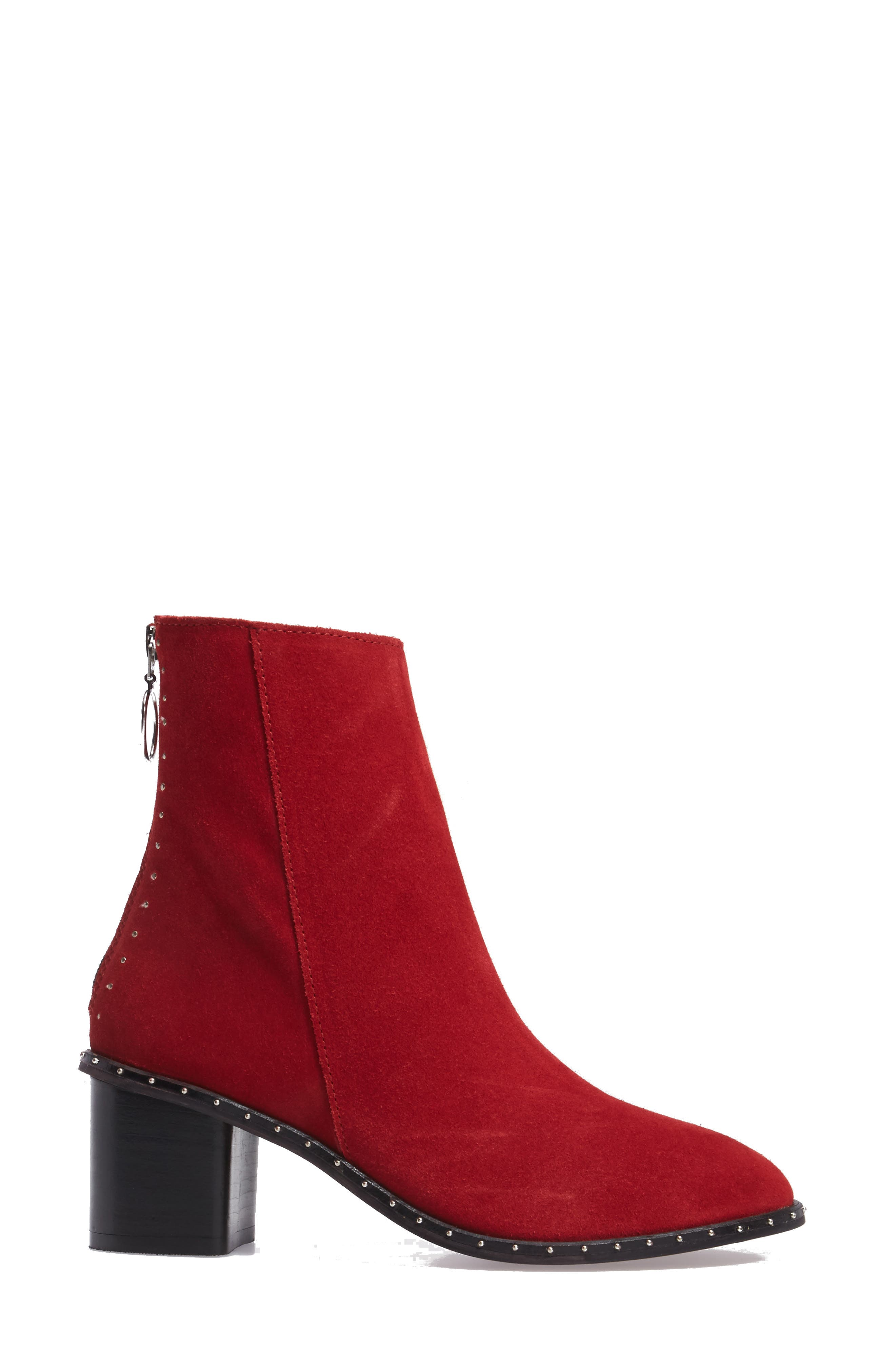 Miranda Studded Bootie,                             Alternate thumbnail 3, color,                             RED