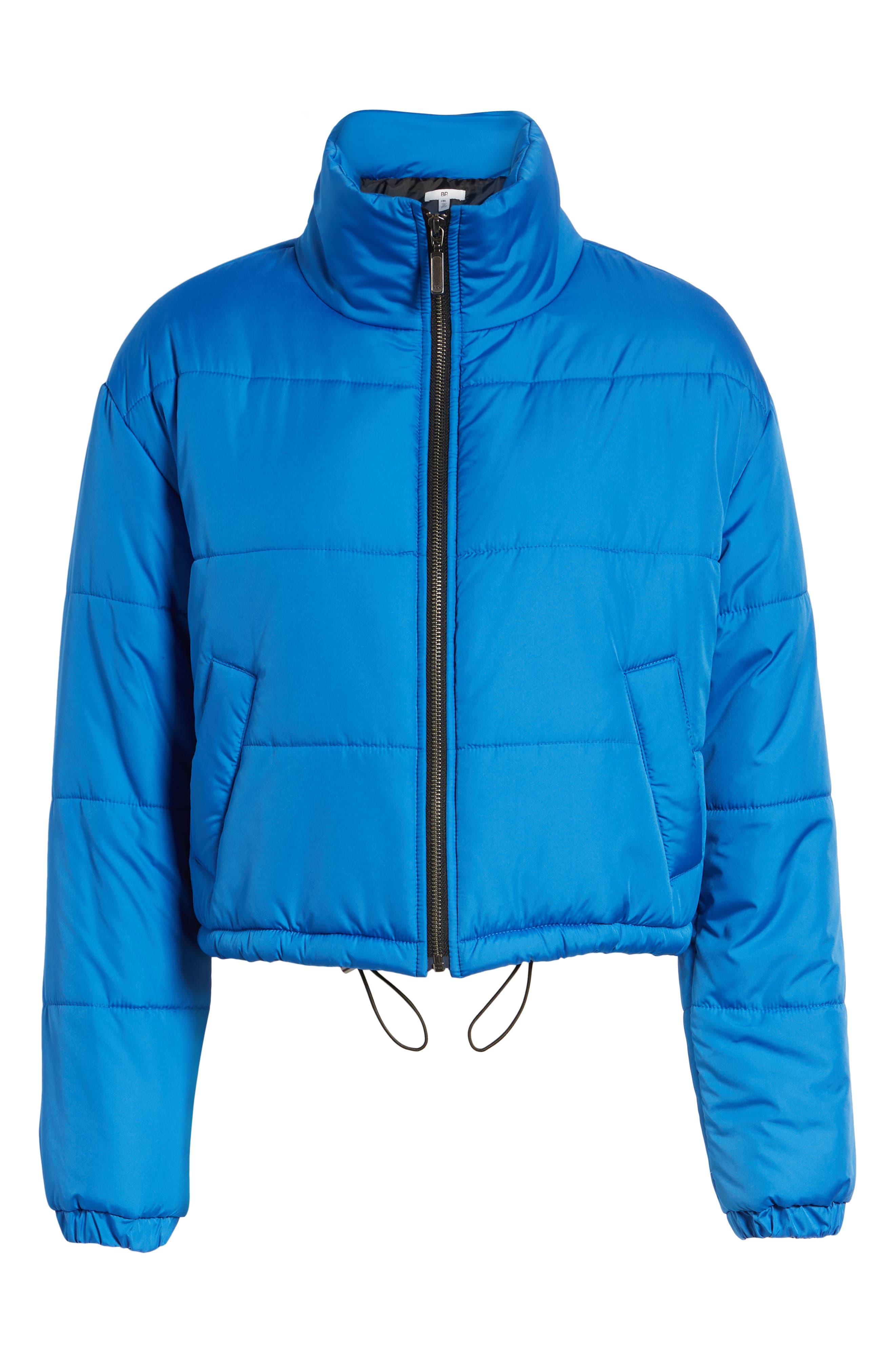 Crop Puffer Jacket,                             Alternate thumbnail 7, color,                             BLUE BOAT