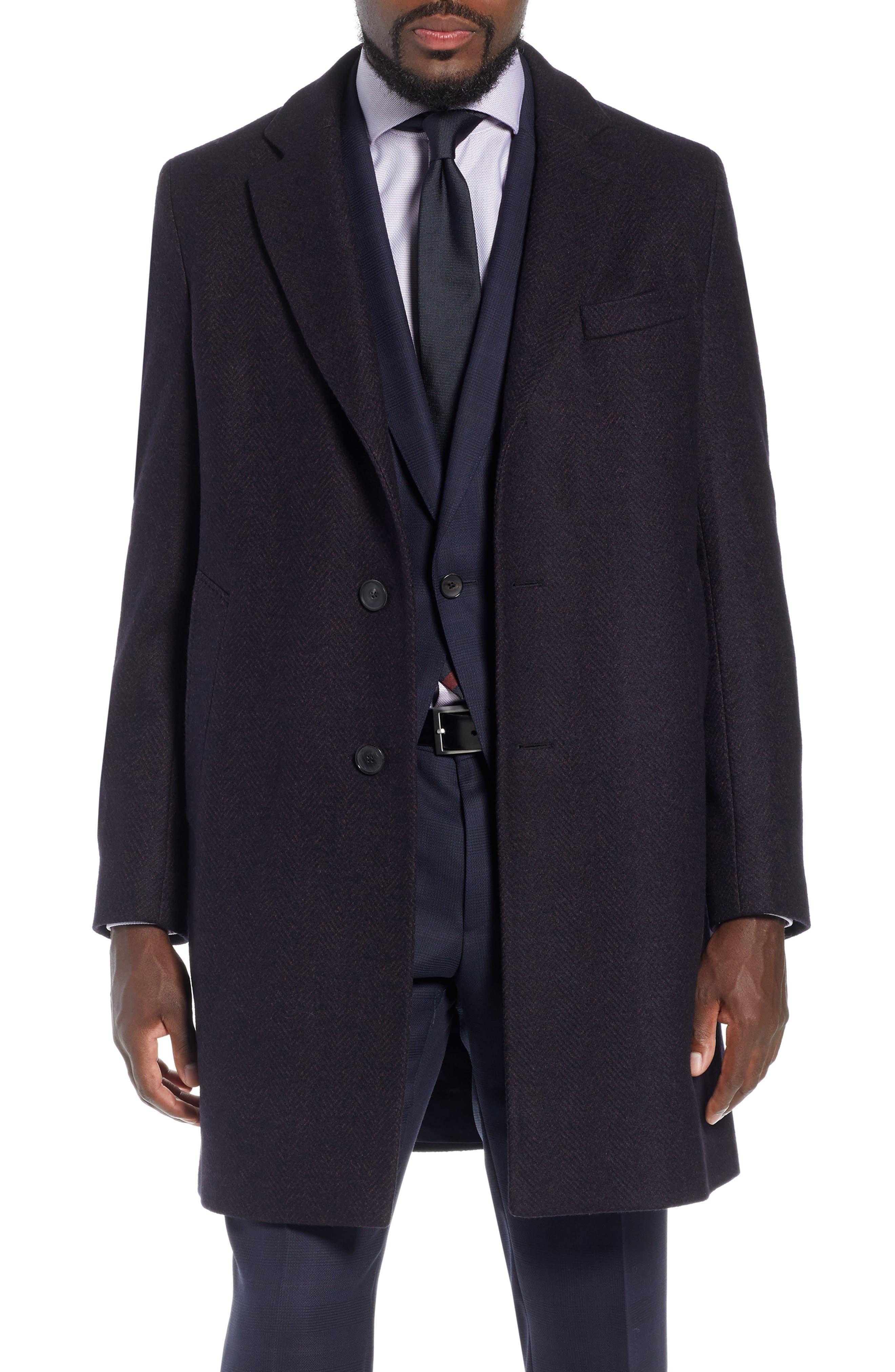 x Nordstrom Nye Wool Blend Top Coat,                         Main,                         color, DARK RED