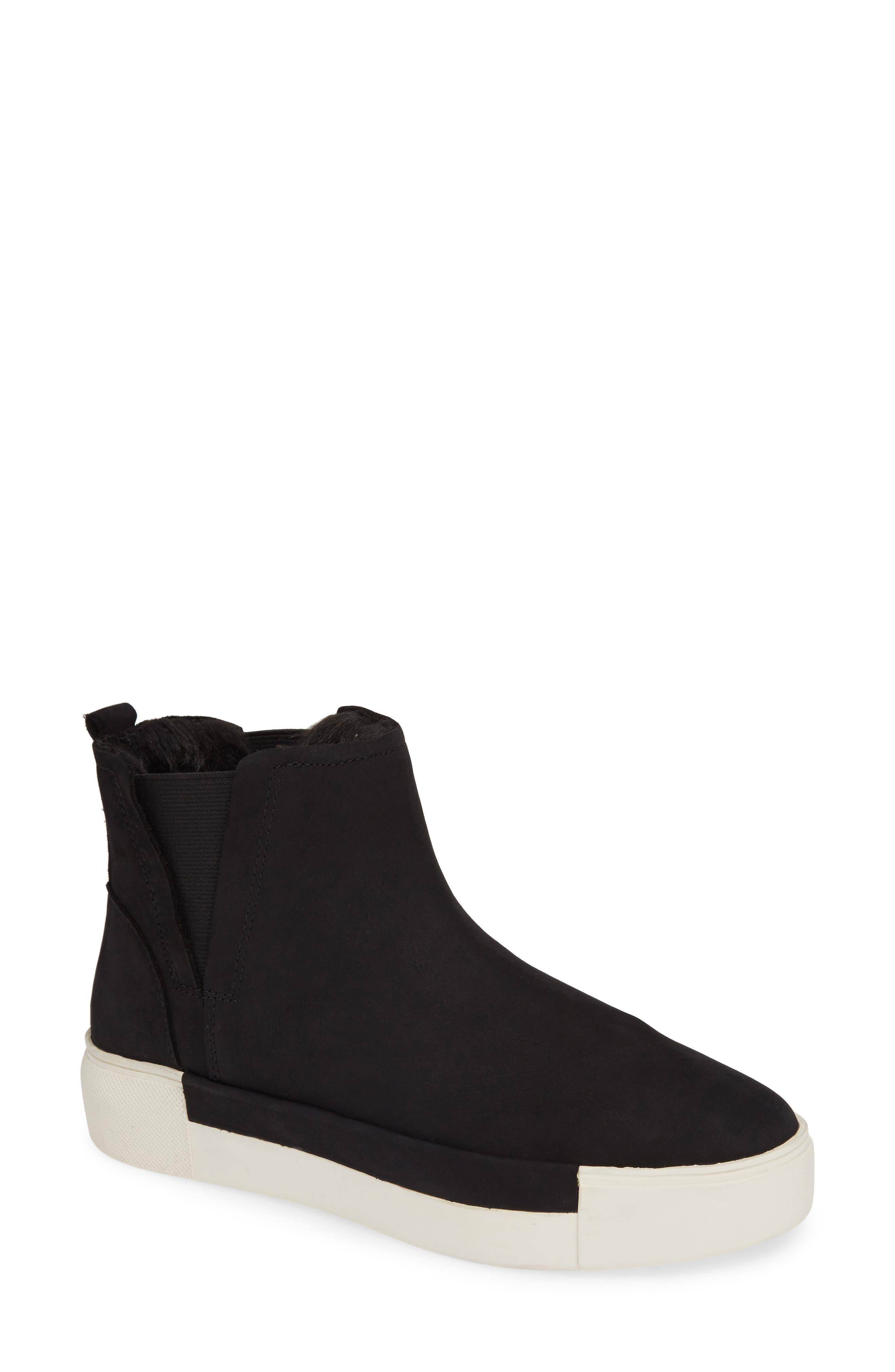 Jslides Val Faux Fur Lined Platform Sneaker- Black