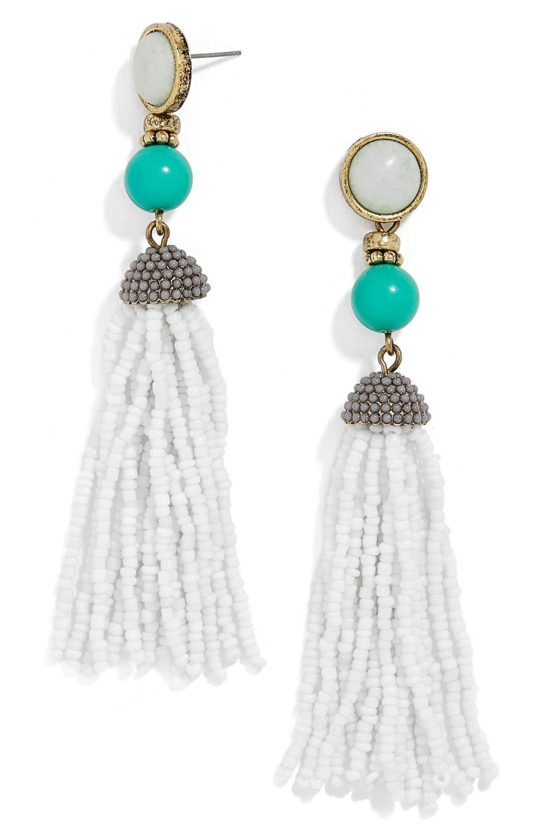 'Artemis' Beaded Tassel Drop Earrings,                             Main thumbnail 1, color,