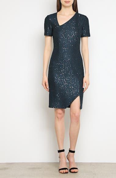 Shimmer Sequin Knit Asymmetrical Dress, video thumbnail