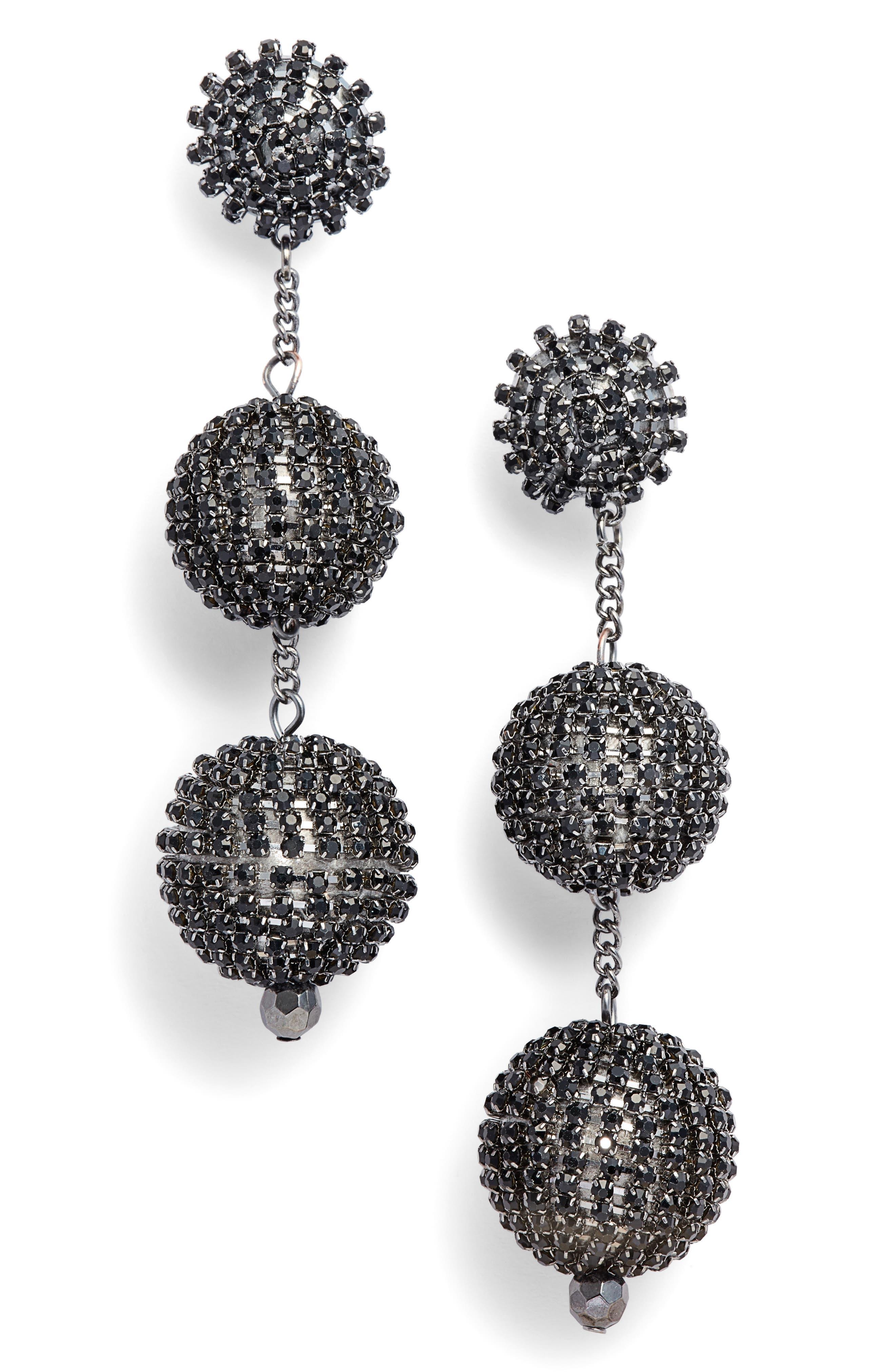 Crystal Ball Drop Earrings,                             Main thumbnail 1, color,                             001