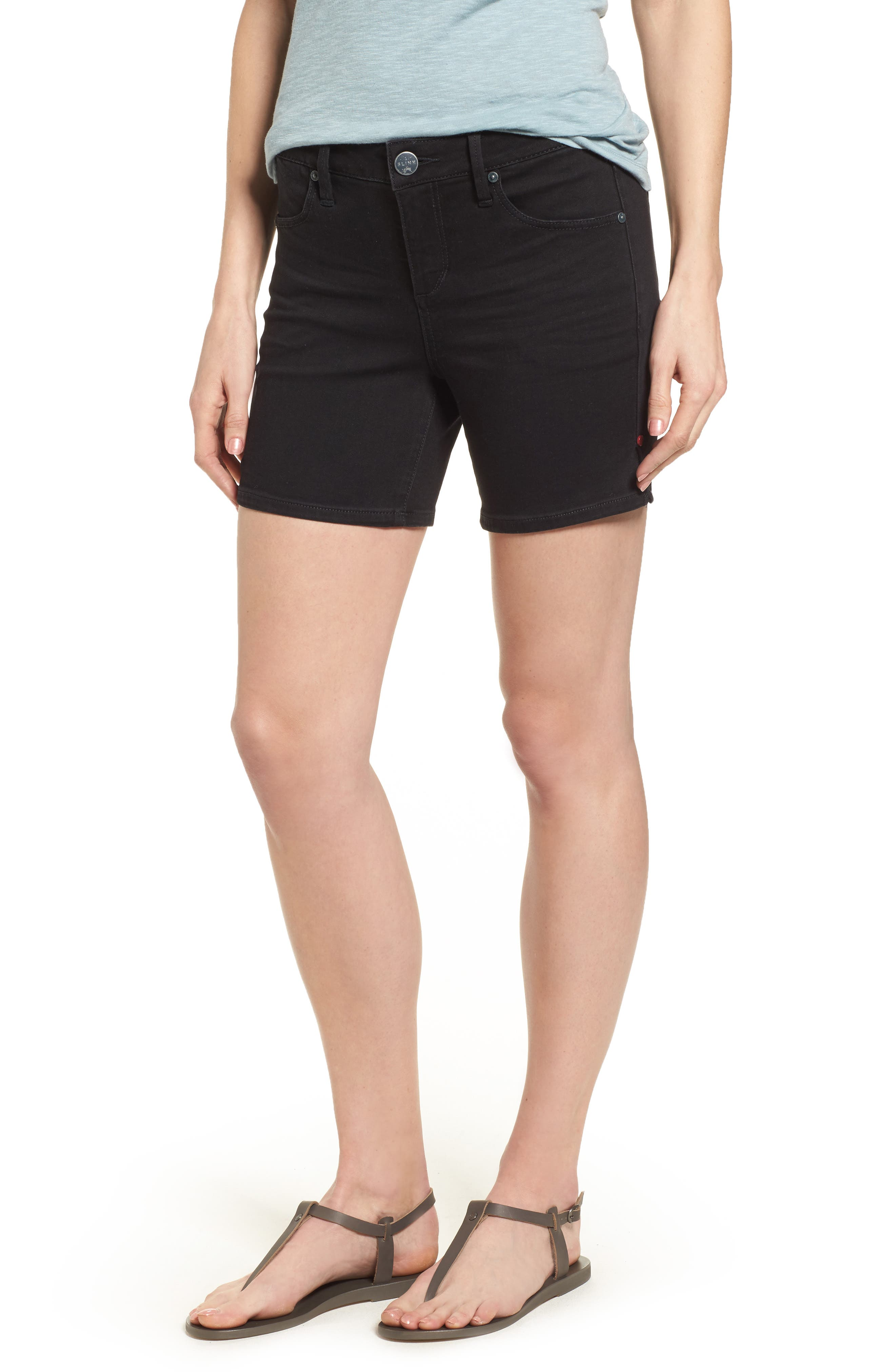 Side Vent Denim Shorts,                         Main,                         color,