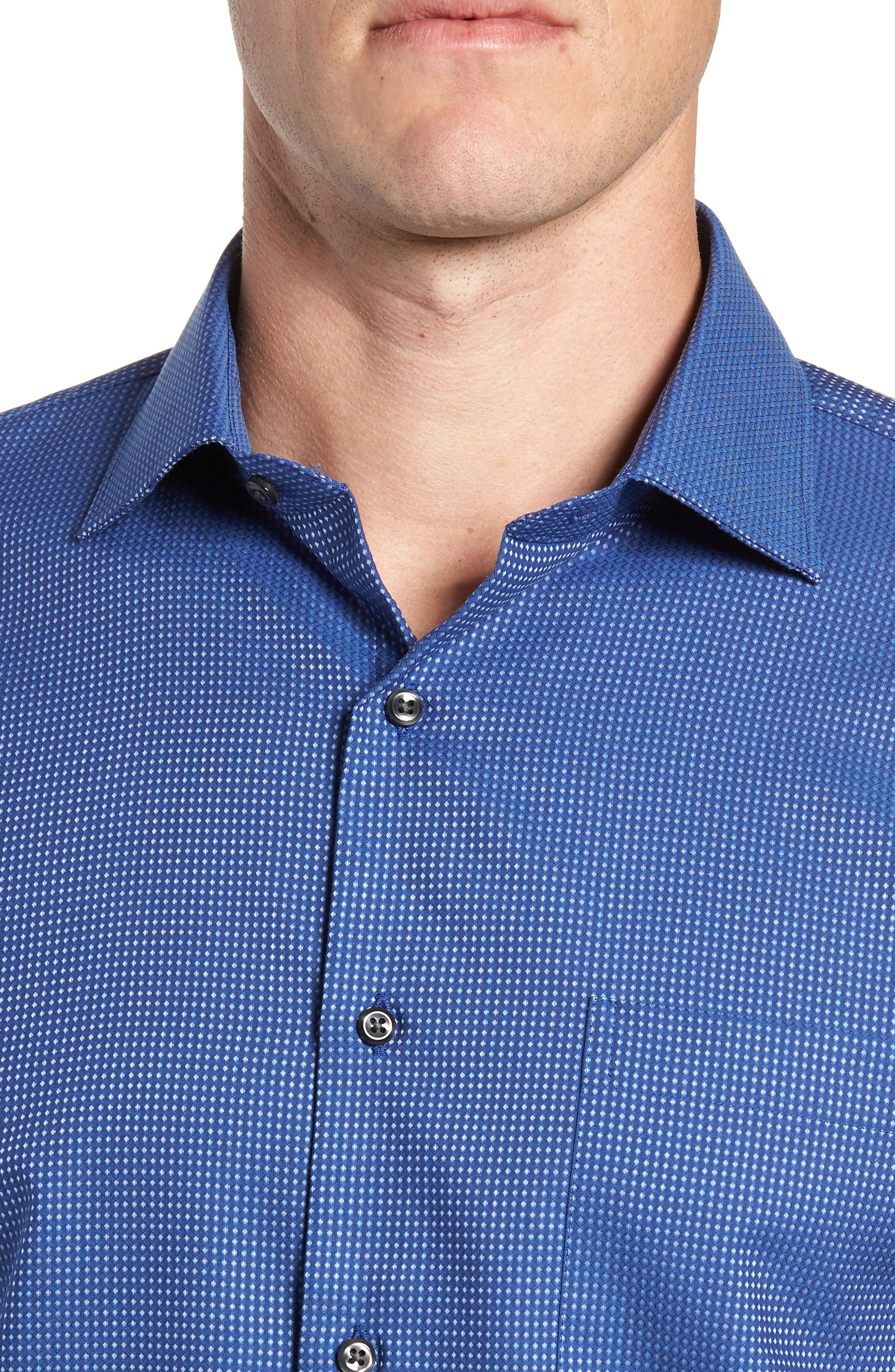 Trim Fit Non-Iron Dot Dress Shirt,                             Alternate thumbnail 2, color,                             BLUE SODALITE